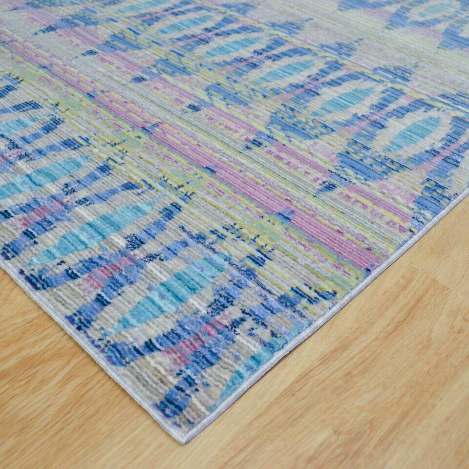 Home Loft Concept Aqua Silk Blue/Green Indoor Area Rug