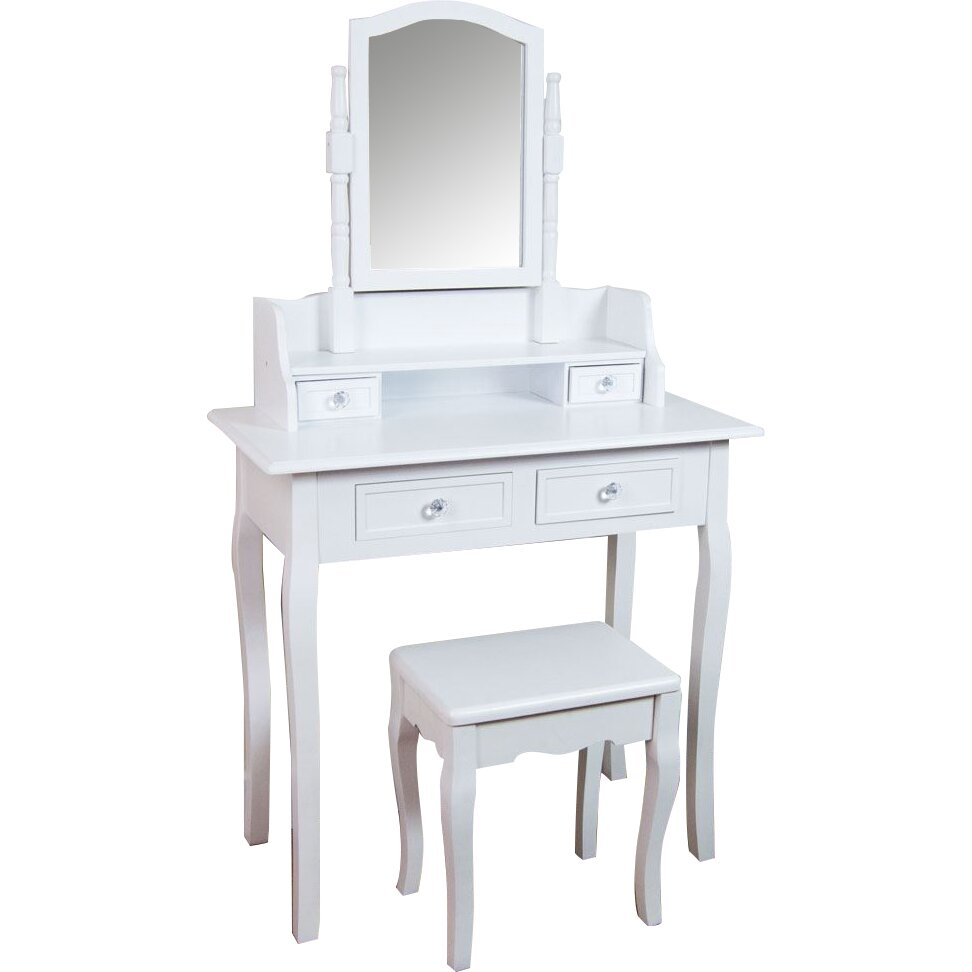 Wildon Home Vida Nishano Dressing Table Set With Mirror Reviews