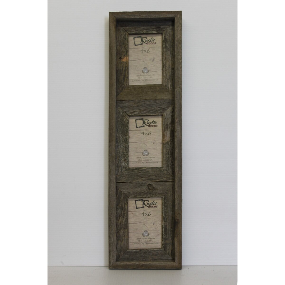rustic decor barn wood vertical 3 opening collage picture frame