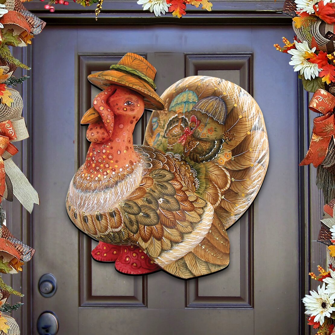 Decorative Door Hangers Authentic Monogram Custom Art Thanksgiving Turkey Wooden