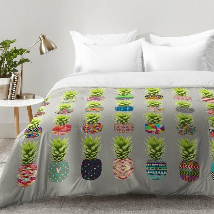East Urban Home Bianca Green Pineapple Party Comforter Set