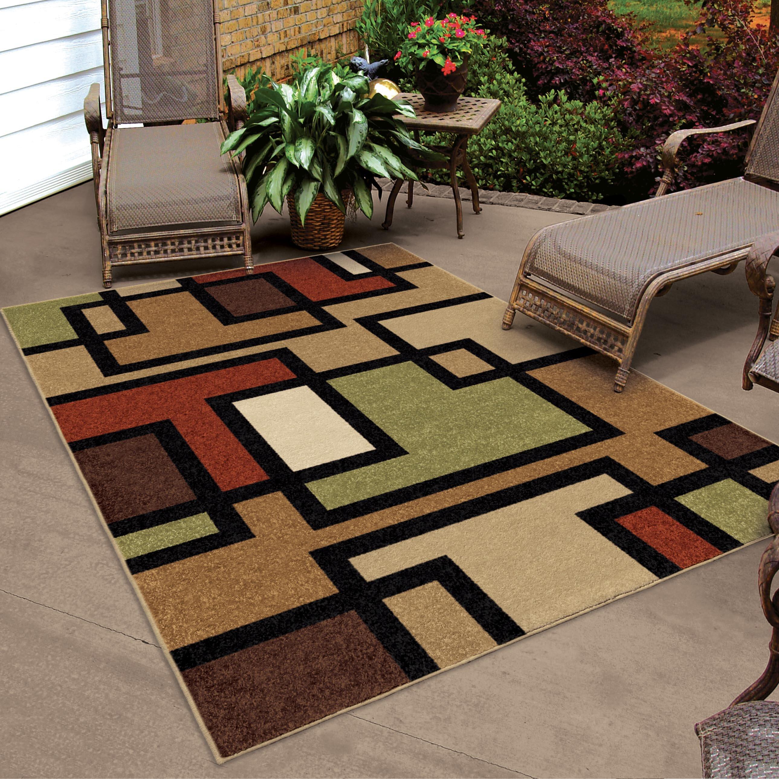 Threadbind thorne brown indoor outdoor area rug reviews for Landscape indoor area rug