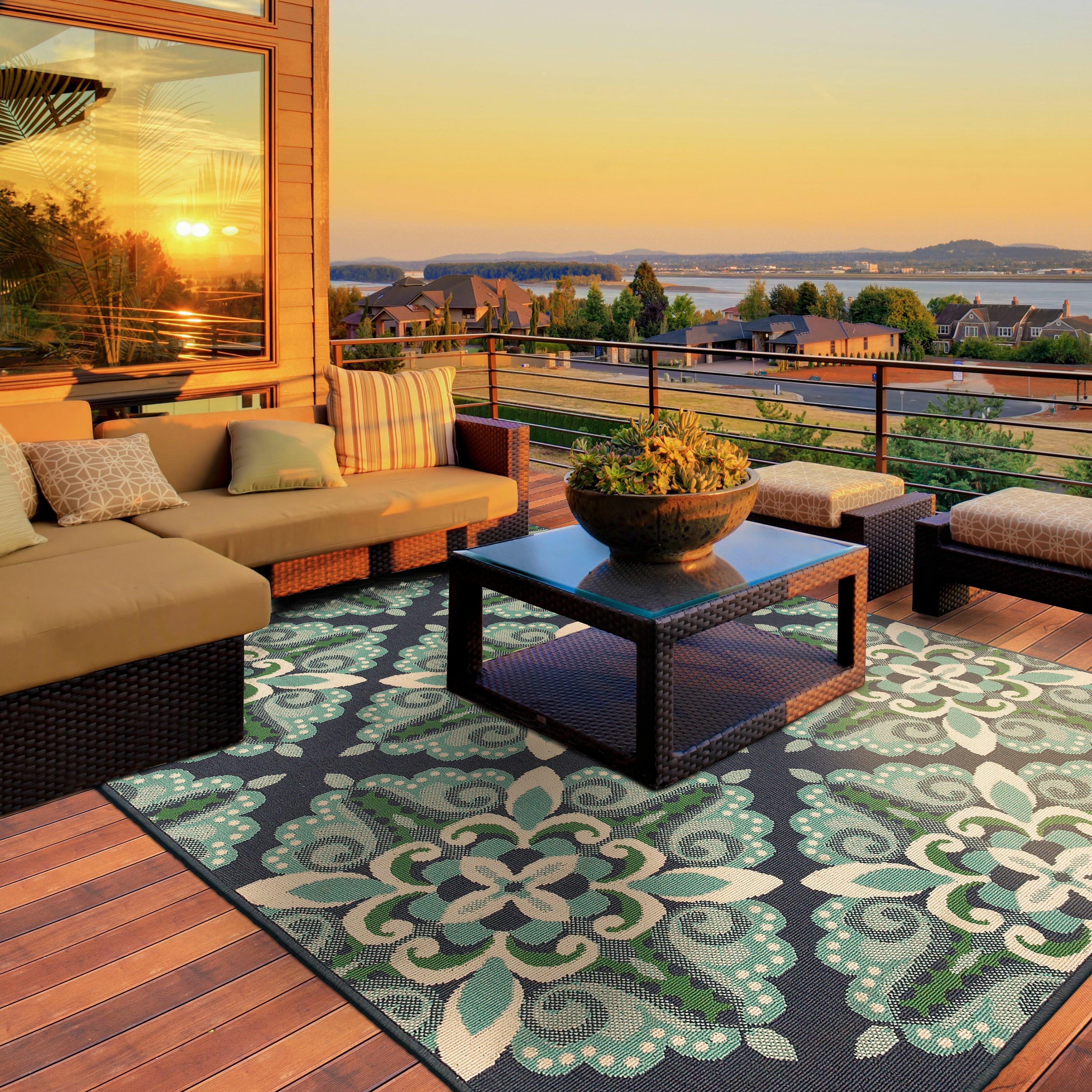 Green Patio Rug 5x7: Threadbind Cortlandt Blue/Green Indoor/Outdoor Area Rug