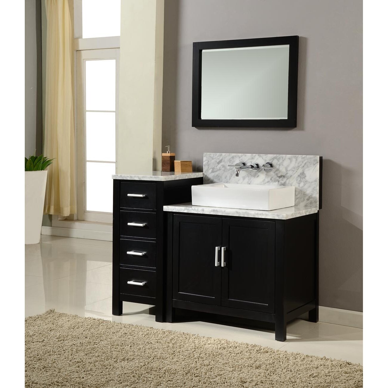 Bathroom sink and mirror - Direct Vanity Sink Horizon 84 Quot Double Premium Bathroom Vanity Set With Mirror