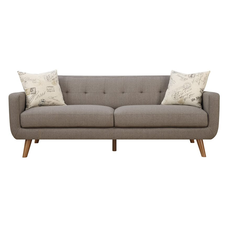 latitude run mid century modern sofa with accent pillows reviews wayfair. Black Bedroom Furniture Sets. Home Design Ideas