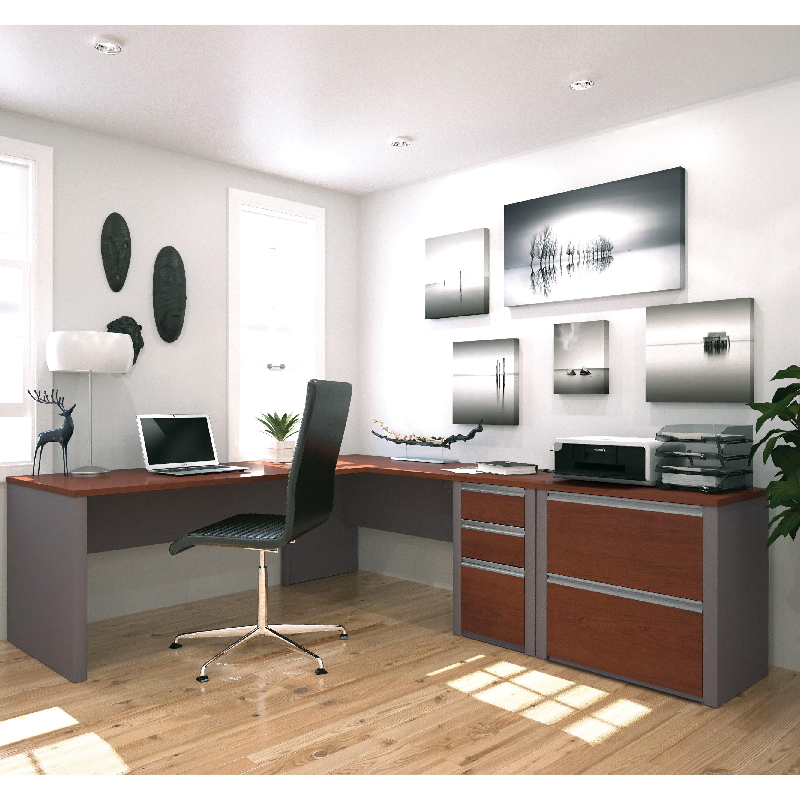 Latitude run karla 2 piece l shaped desk office suite for Decoration murale wayfair