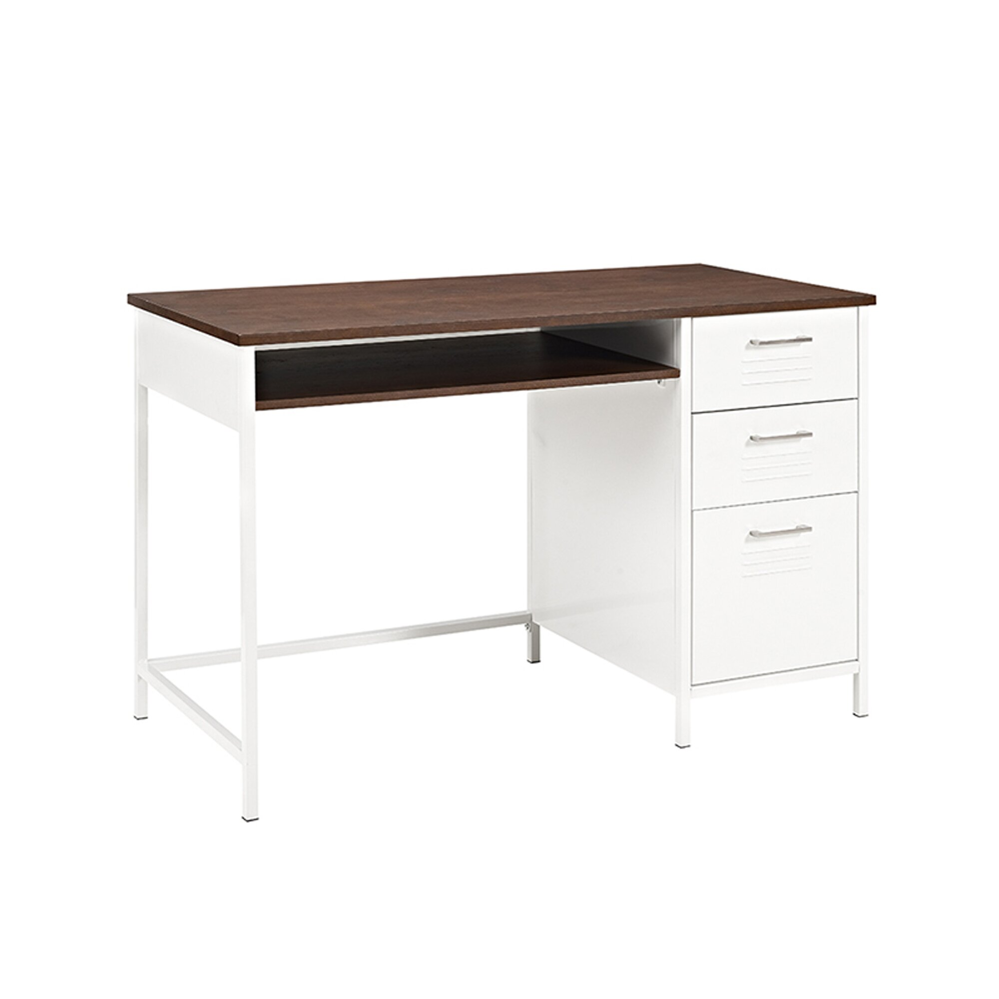 Marlee metal locker style computer desk with wood top for Metal desk with wood top