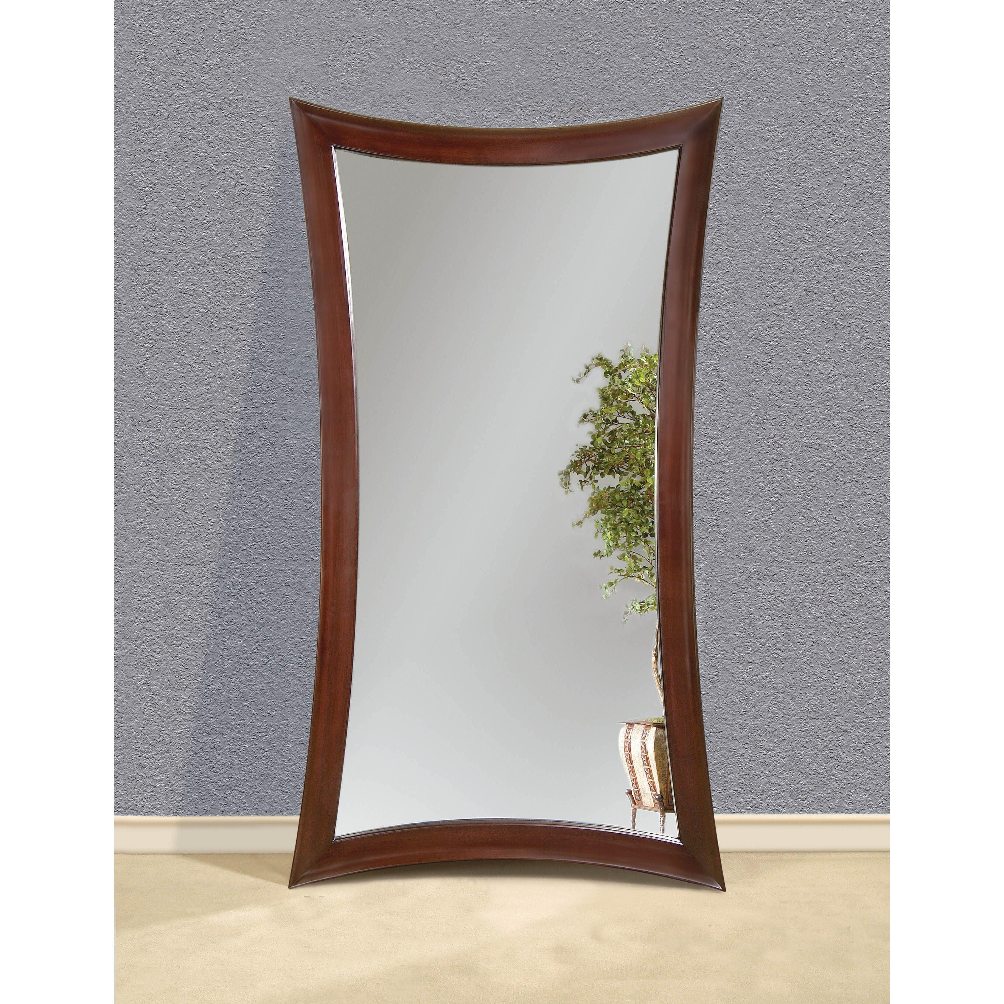Oak bar mirrors with shelves - Irregular Merlot Wood Leaner Mirror