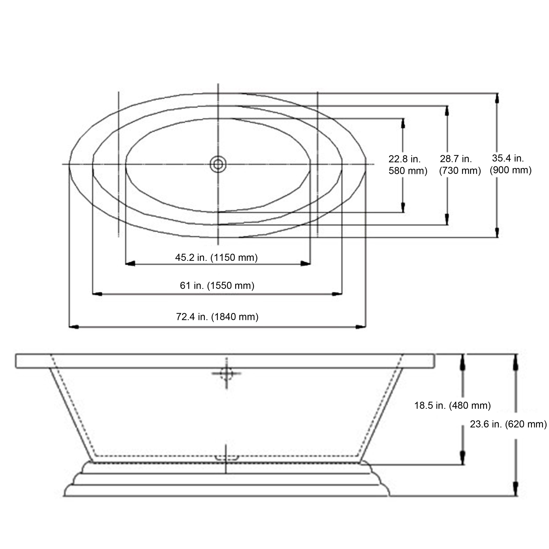 Ancona Eva 72 X 24 Freestanding Bathtub Reviews Wayfair