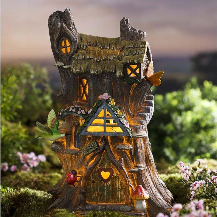 Wind Amp Weather Resin Solar Tree Stump House Fairy Garden