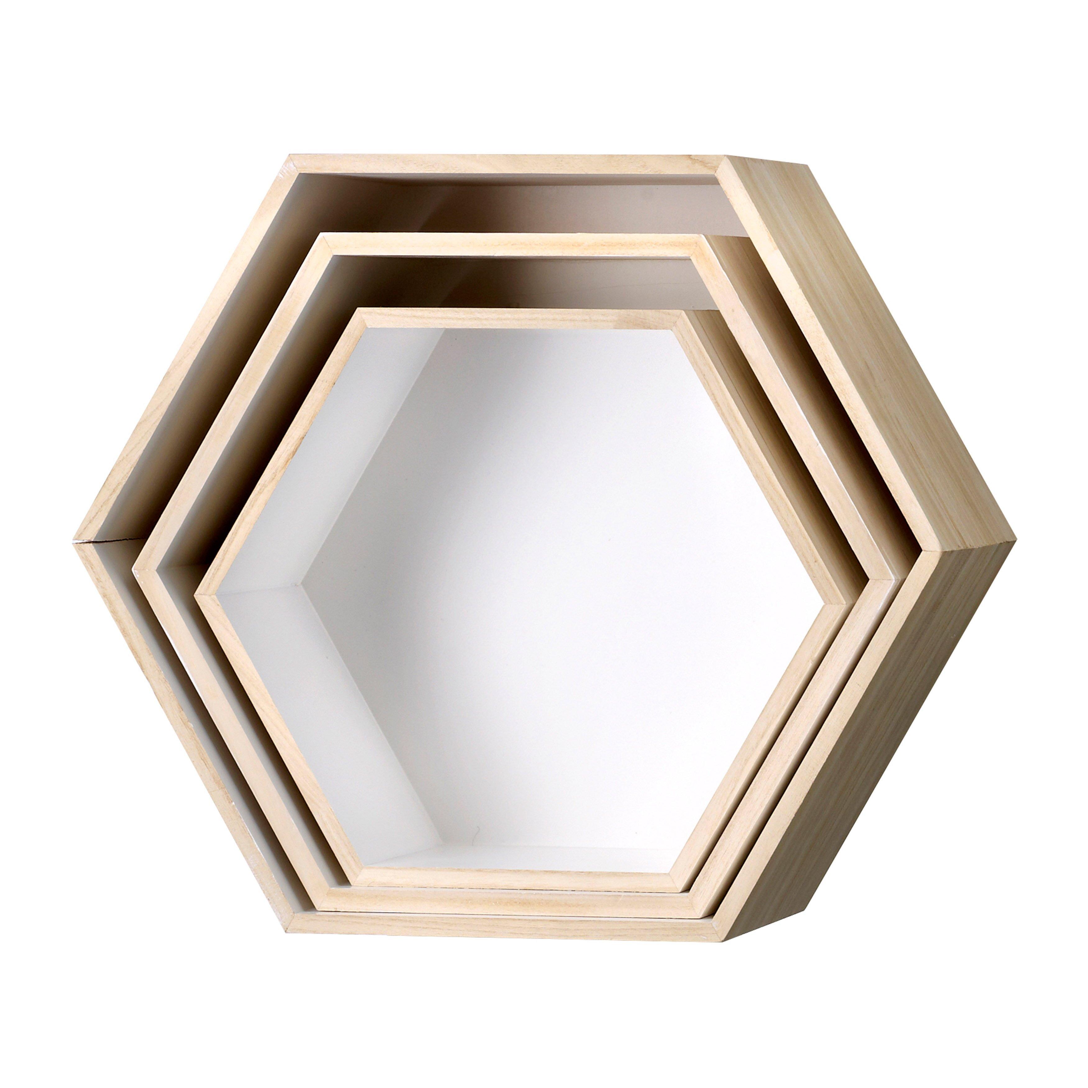 Bloomingville Coffee Table Bloomingville 3 Piece Hexagonal Wood Shelf Set Reviews Wayfair