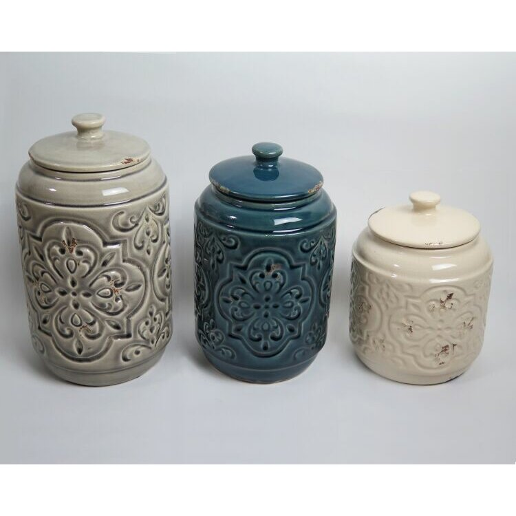 Drewderosedesigns Rustic Quilted 3 Piece Kitchen Canister Set Reviews
