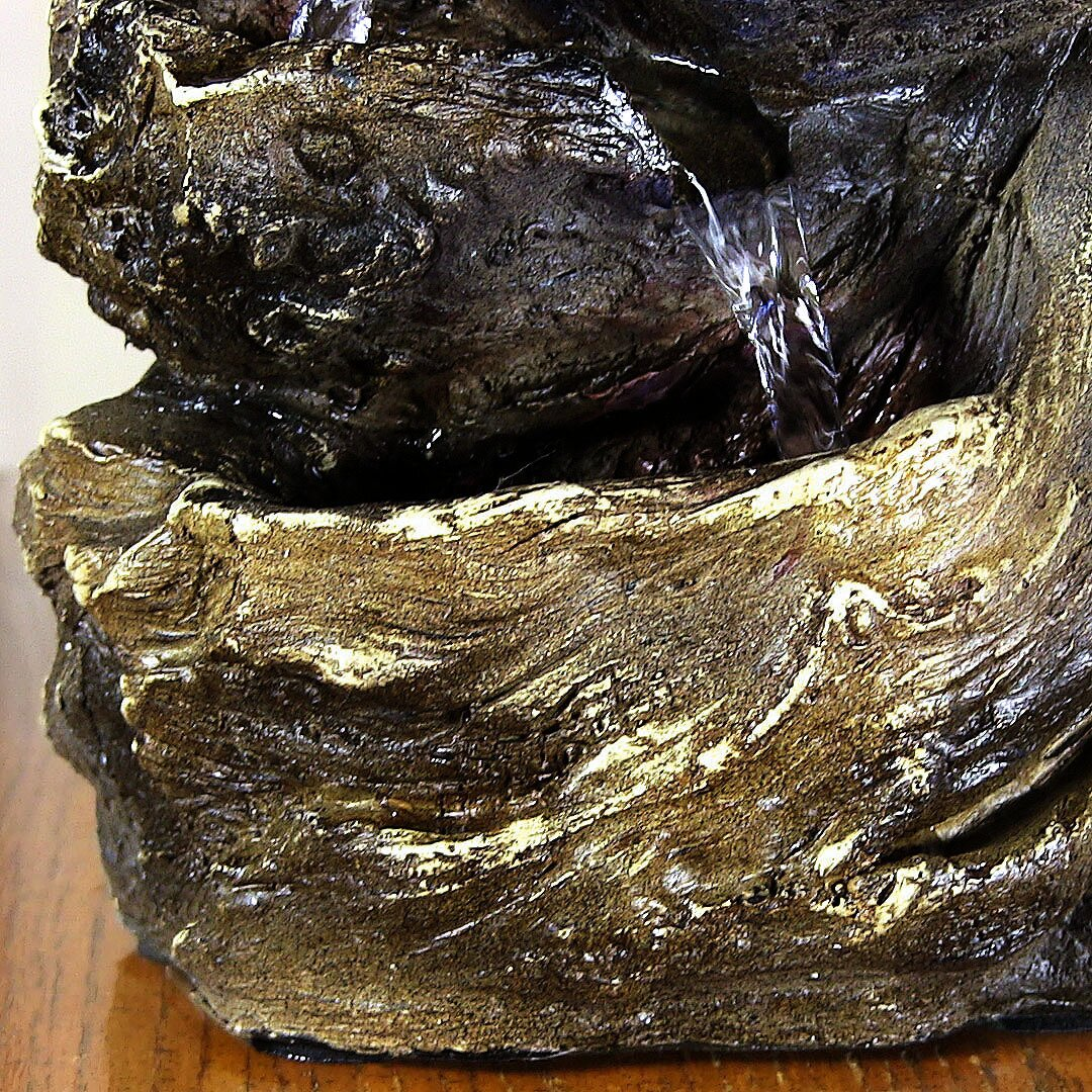 Sunnydaze decor resin tiered rock and log tabletop for Decorative rocks for sale near me