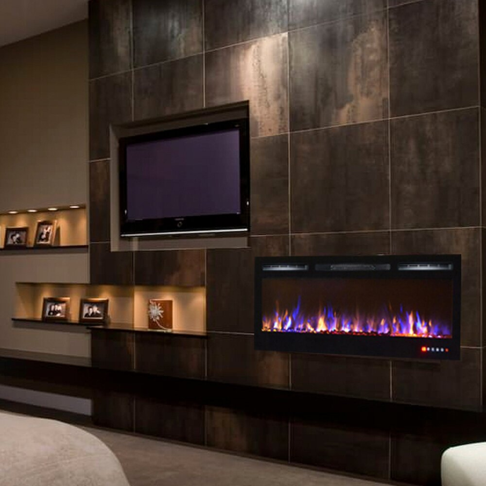 Gibson Living Bombay Crystal Wall Mount Electric Fireplace