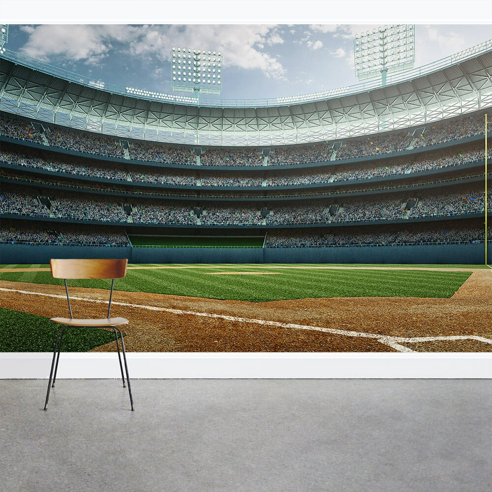 Wallums wall decor baseball stadium 8 39 x 144 3 piece wall for Baseball stadium mural wallpaper
