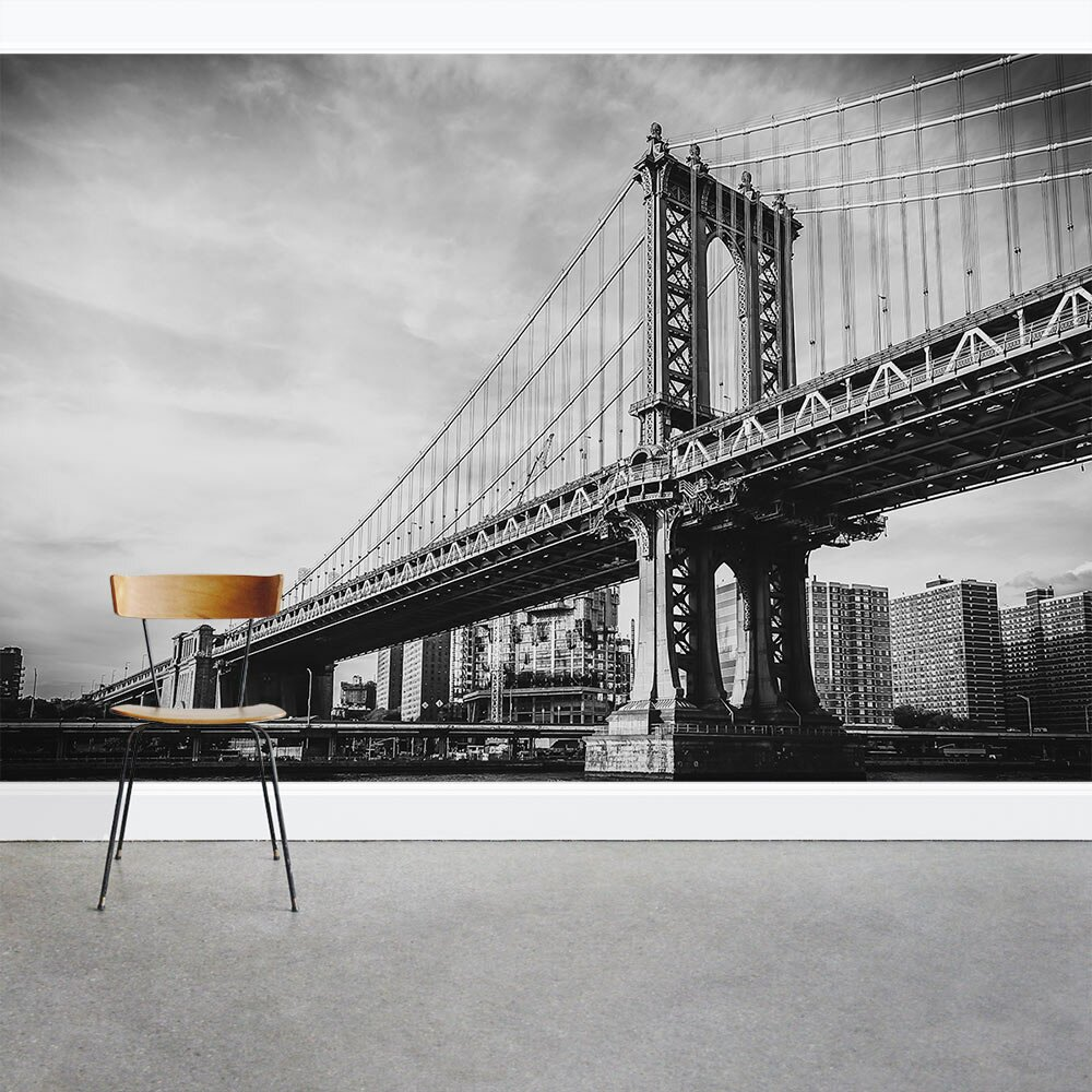 Wallums wall decor brooklyn bridge black and white 8 39 x for Brooklyn bridge black and white wall mural