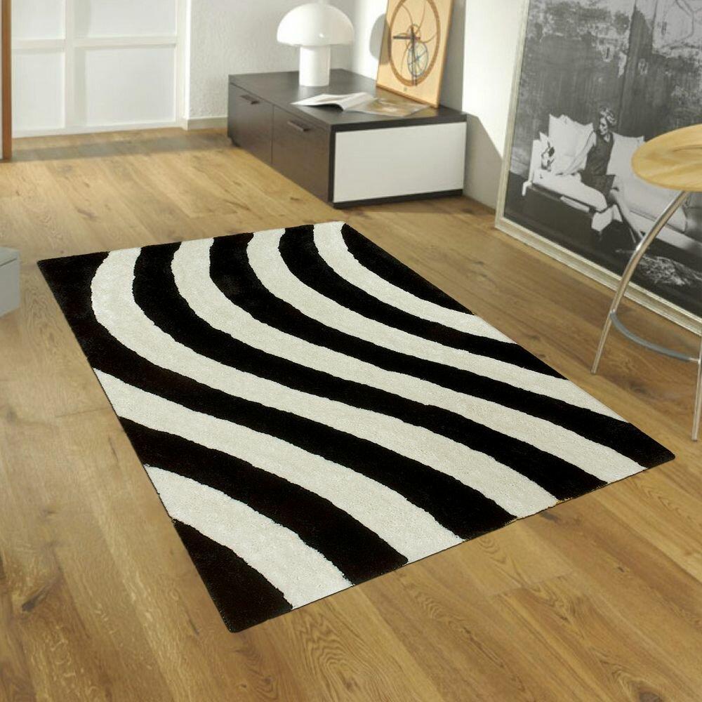 allstar rugs hand tufted black white area rug. Black Bedroom Furniture Sets. Home Design Ideas