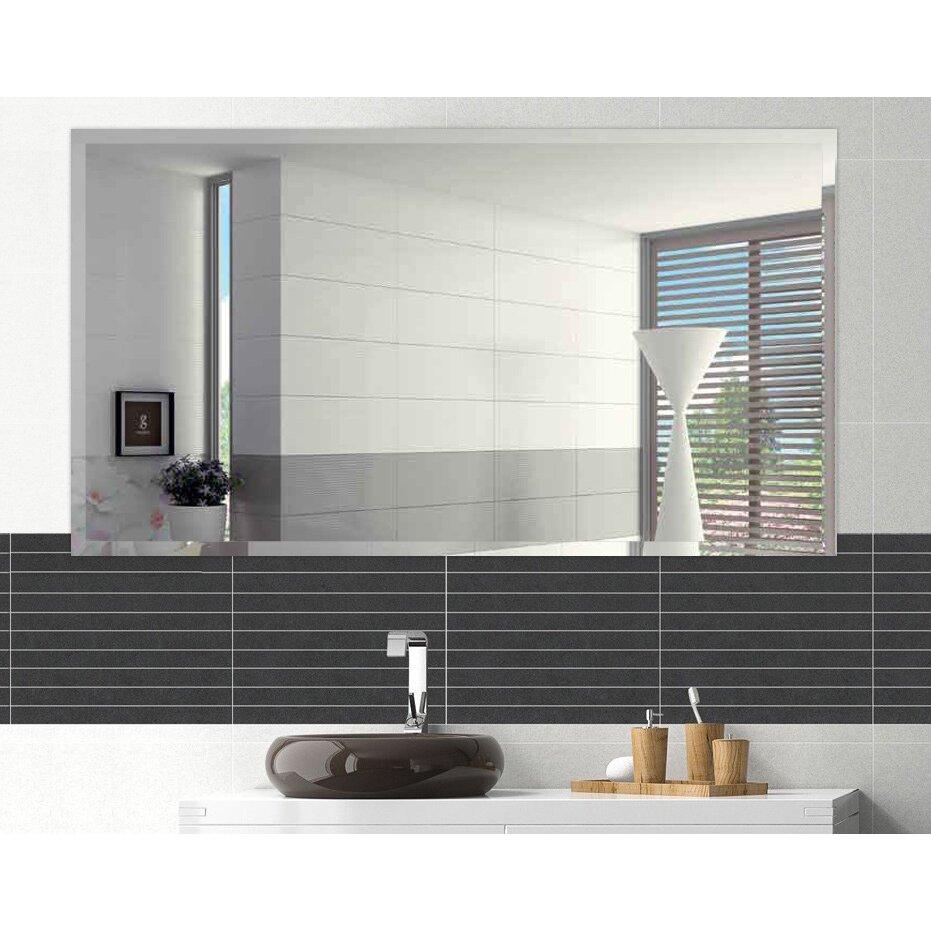 Fab glass and mirror rectangle beveled polish frameless - Frameless beveled bathroom mirrors ...
