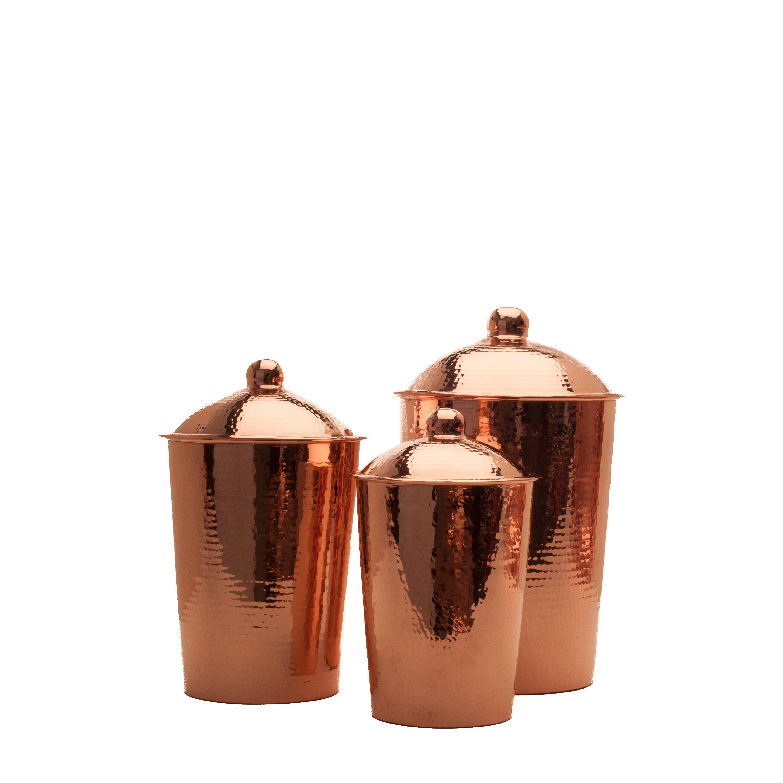 sertodo copper kumran 3 kitchen canister set