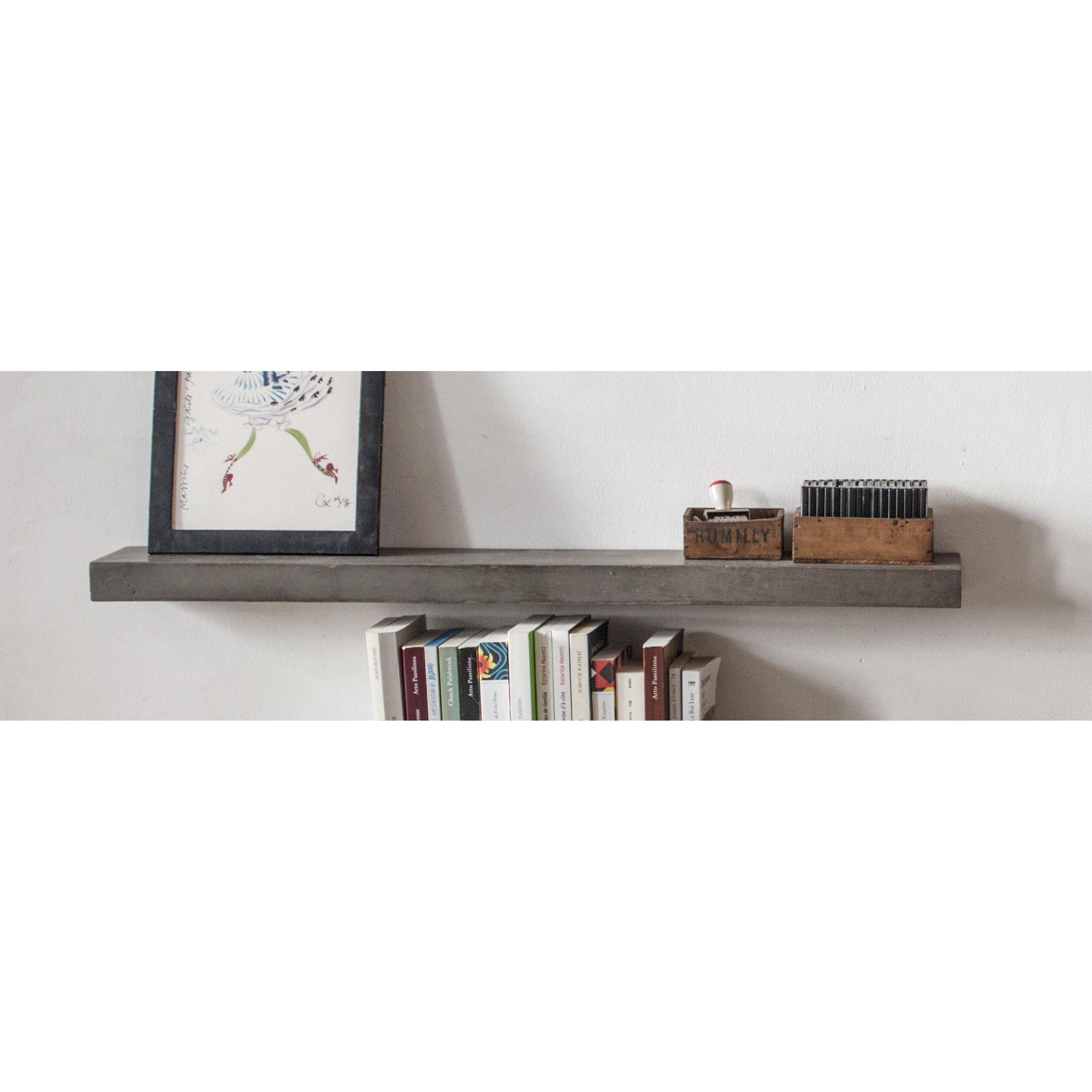 Lyon beton sliced concrete floating shelf amp reviews wayfair