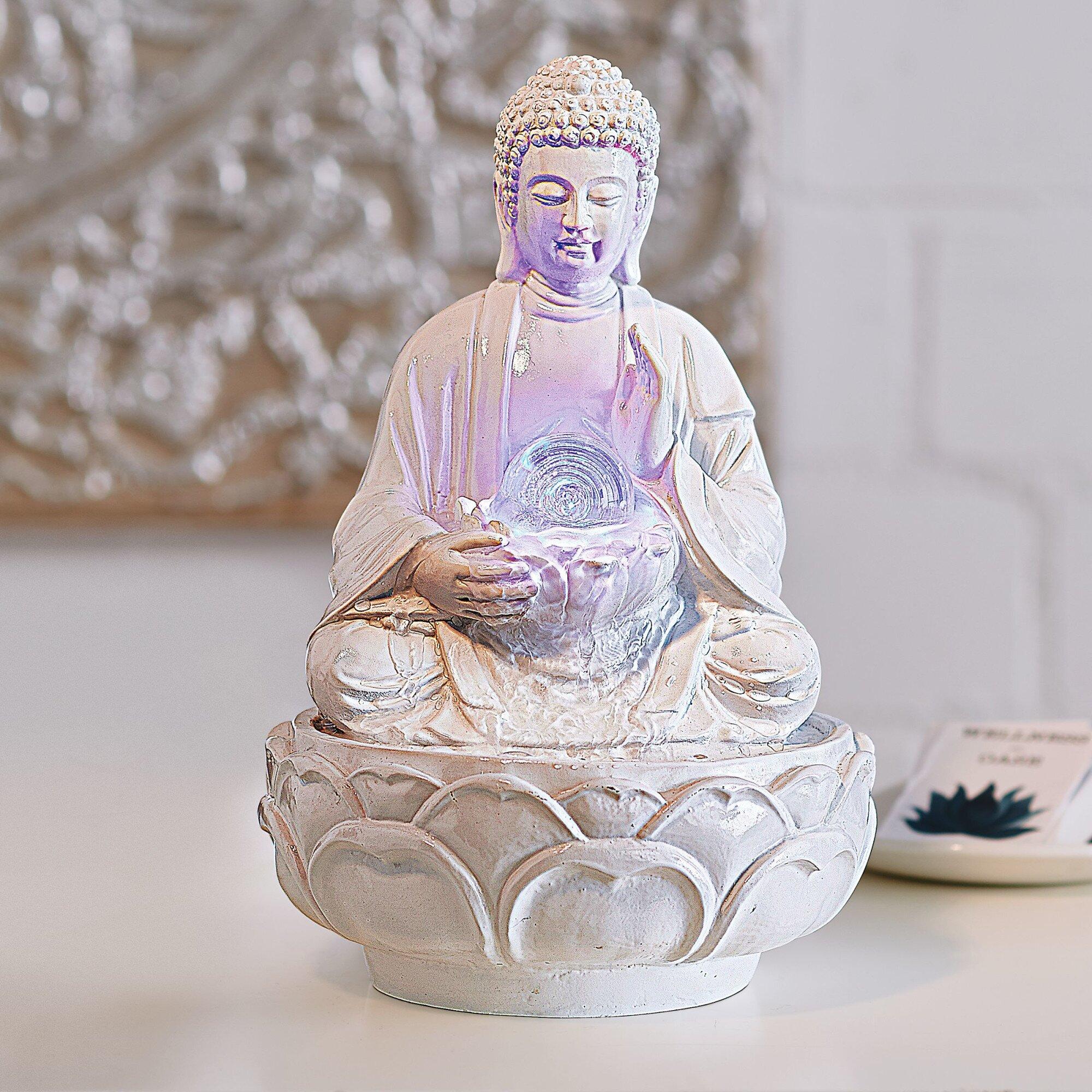 pureday brunnen buddha aus polyresin und glas mit licht. Black Bedroom Furniture Sets. Home Design Ideas