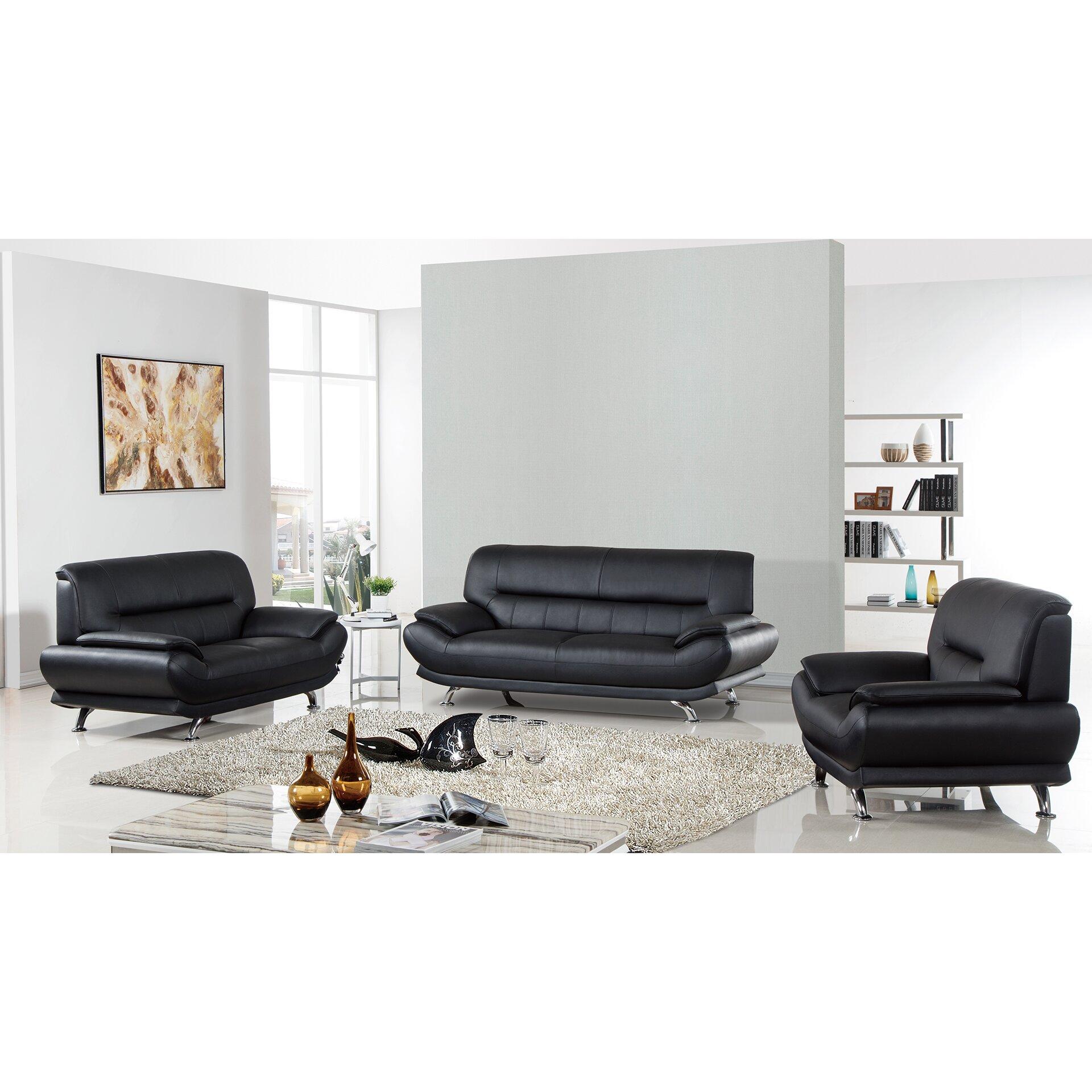 americaneagleinternationaltrading arcadia 3 piece leather living room set reviews wayfair. Black Bedroom Furniture Sets. Home Design Ideas