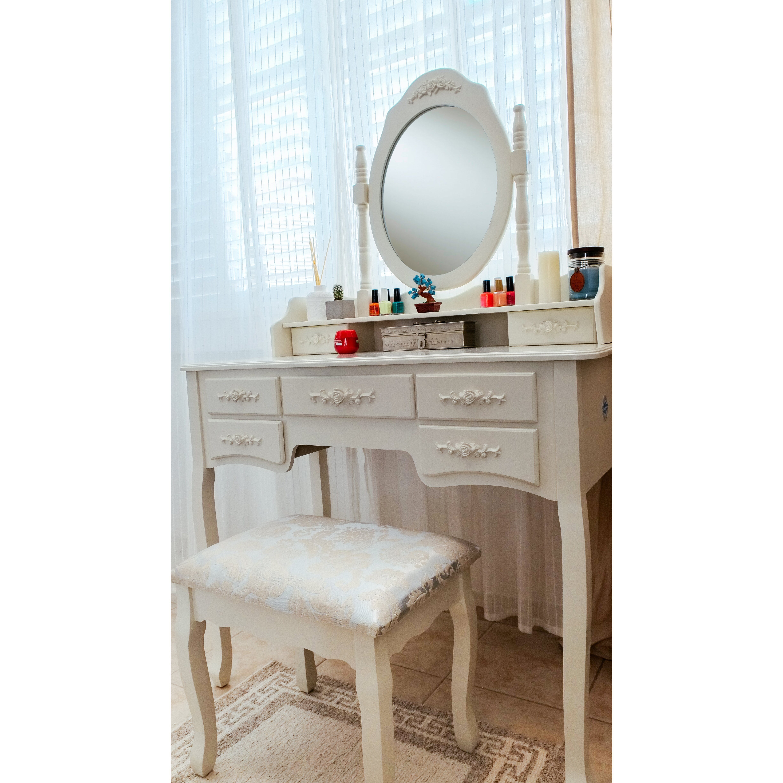 Cleopatra Grand de Lux Vanity Set with Mirror. Bedroom   Makeup Vanities You ll Love   Wayfair