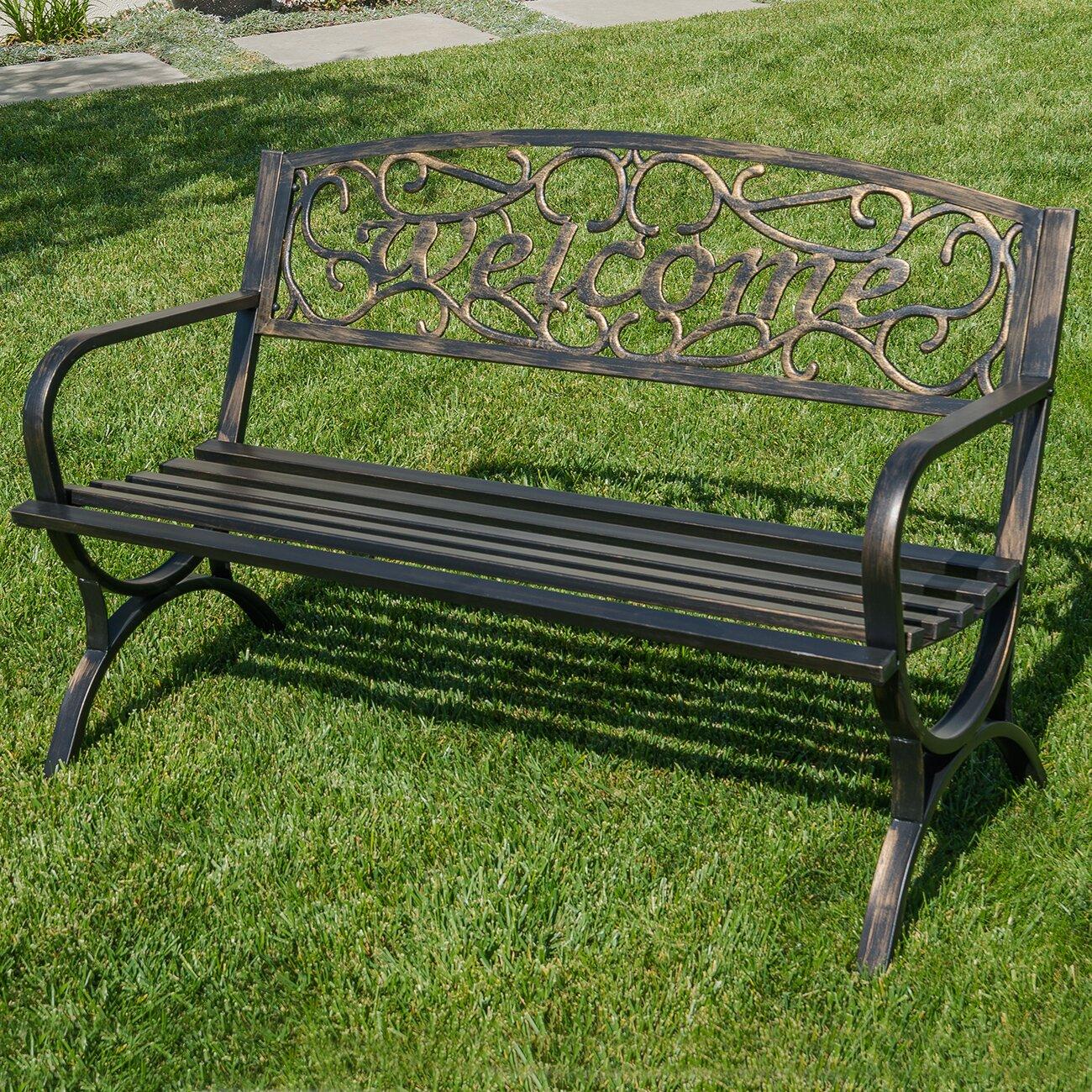 Belleze Outdoor Metal Park Bench Amp Reviews Wayfair Ca