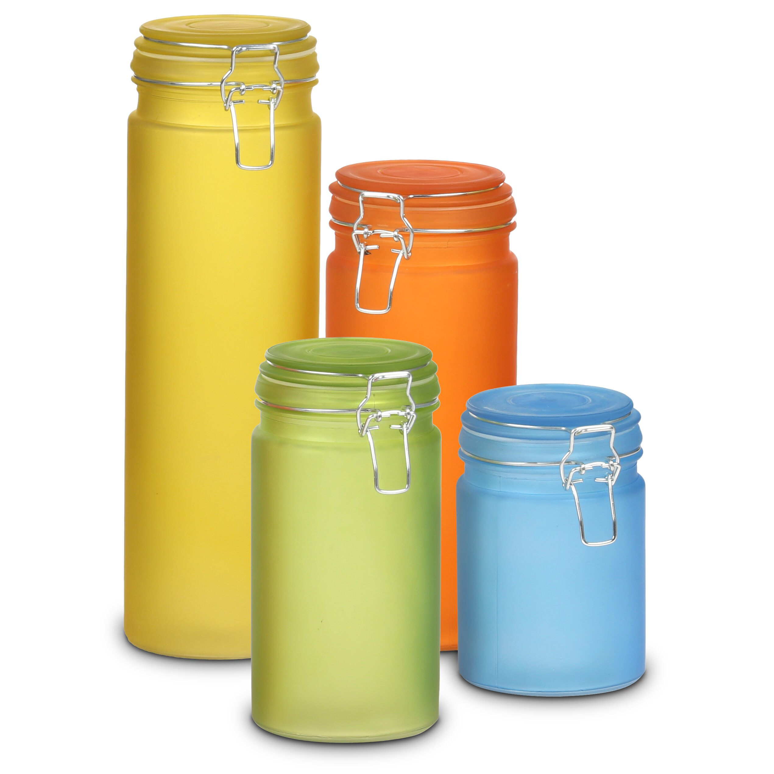 Yellow Canister Sets Kitchen Storn Style Glass 4 Piece Kitchen Canister Set Reviews Wayfair