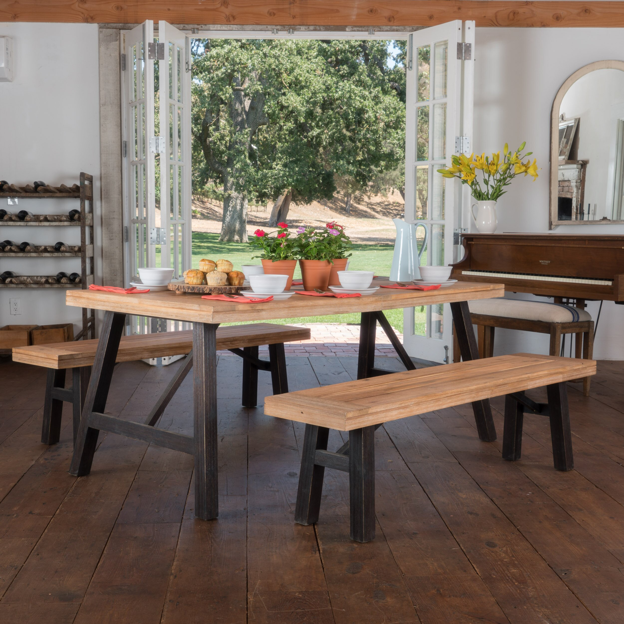 3 Piece Dining Room Set: Laurel Foundry Modern Farmhouse Guillaume 3 Piece Dining