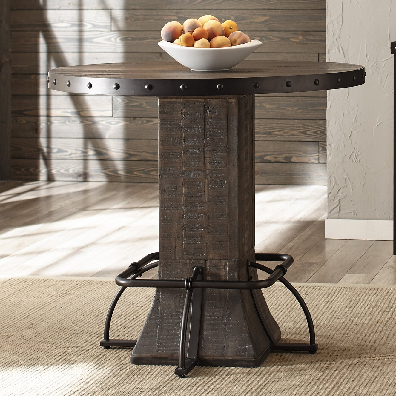 laurel foundry modern farmhouse christena round counter height dining table wayfair. Black Bedroom Furniture Sets. Home Design Ideas