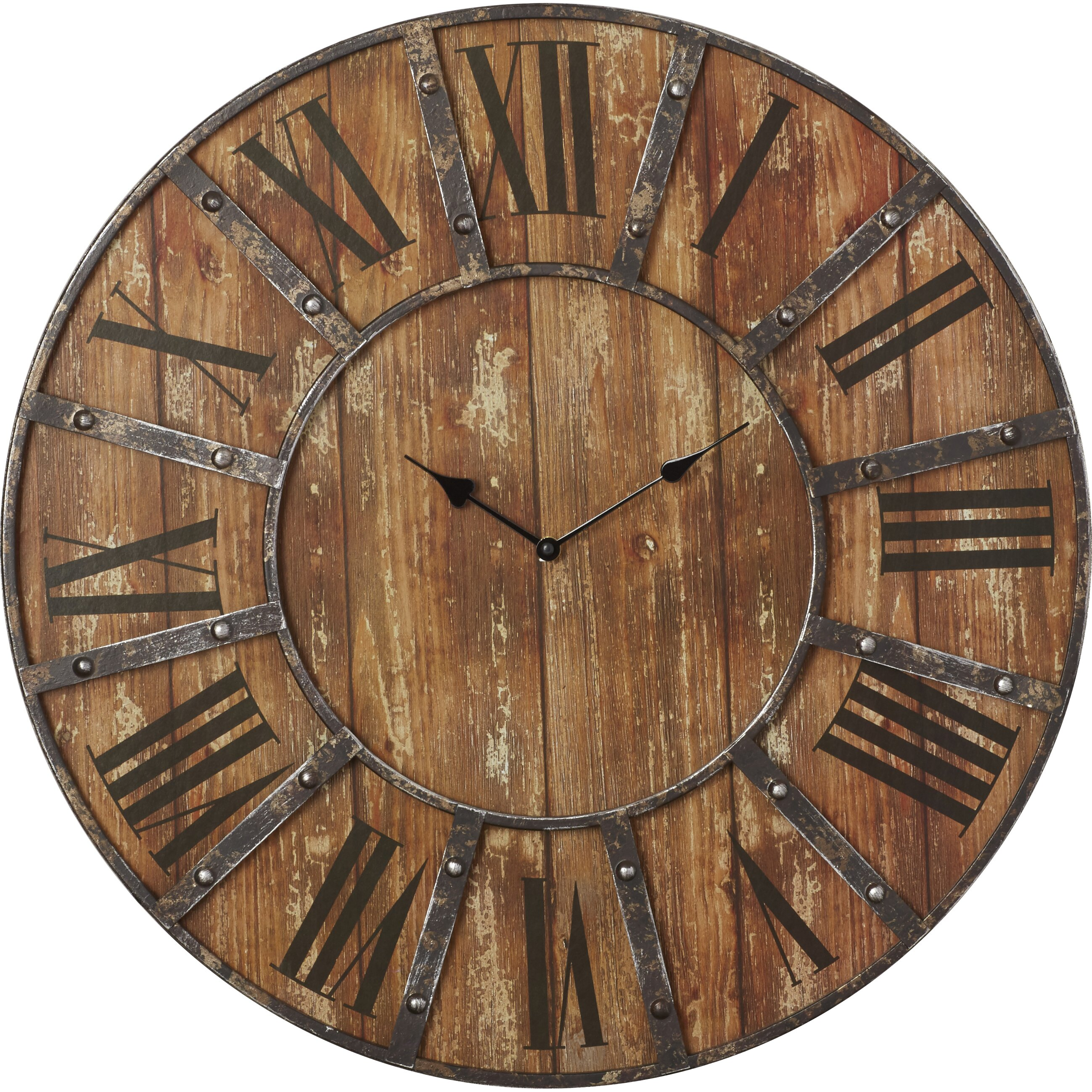 Laurel foundry modern farmhouse oversized 24 metal wall Oversized metal wall clocks
