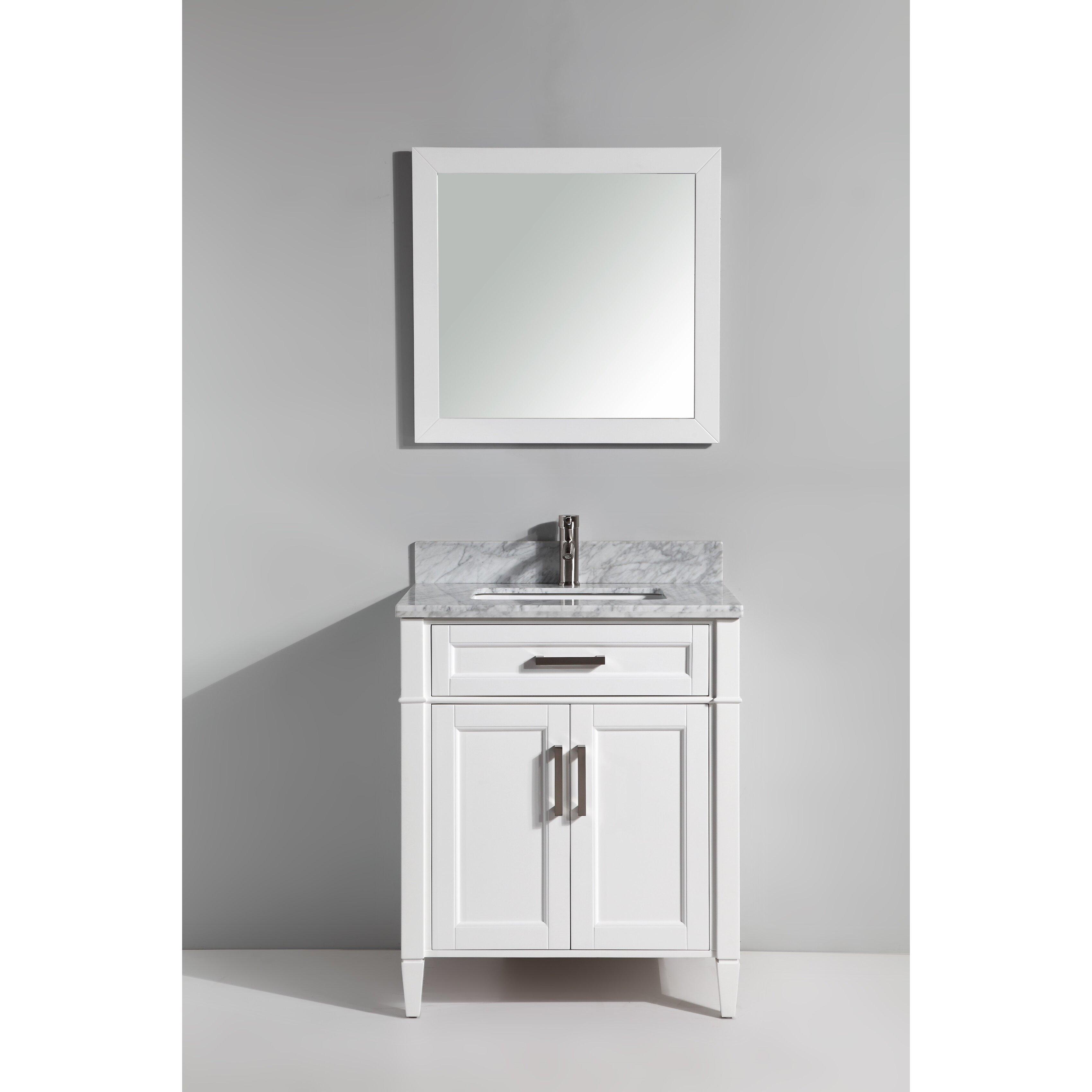 30 Bathroom Cabinet Vanity Art Carrara Marble 30 Single Bathroom Vanity With Mirror