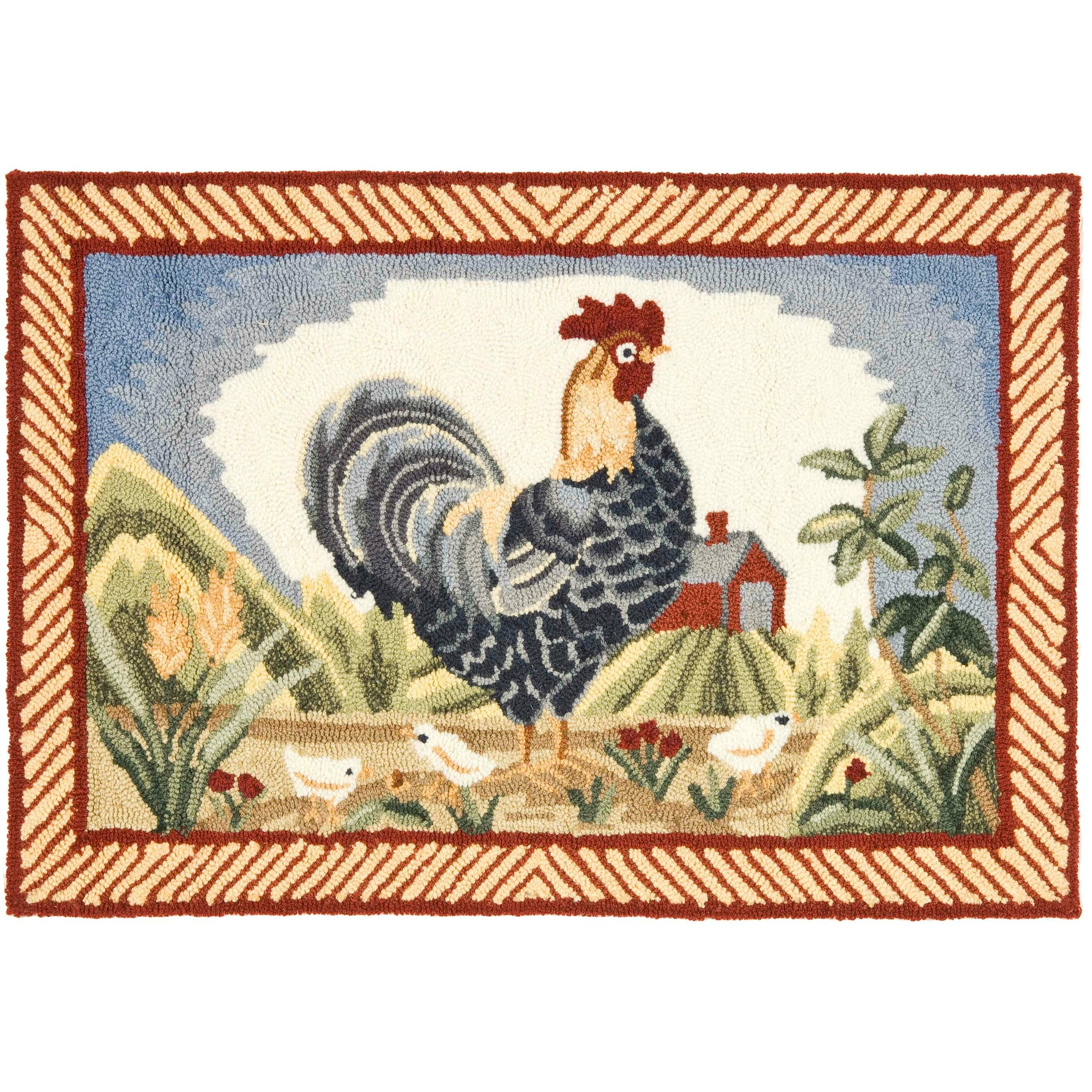 Rooster Area Rugs Kitchen Safavieh Durarug Blue Rooster Area Rug Reviews Wayfair