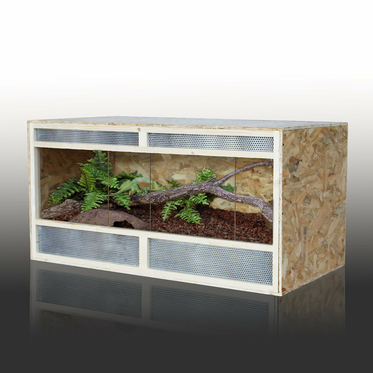 Pawhut Reptile Cage With 2 Recessed Sliding Doors
