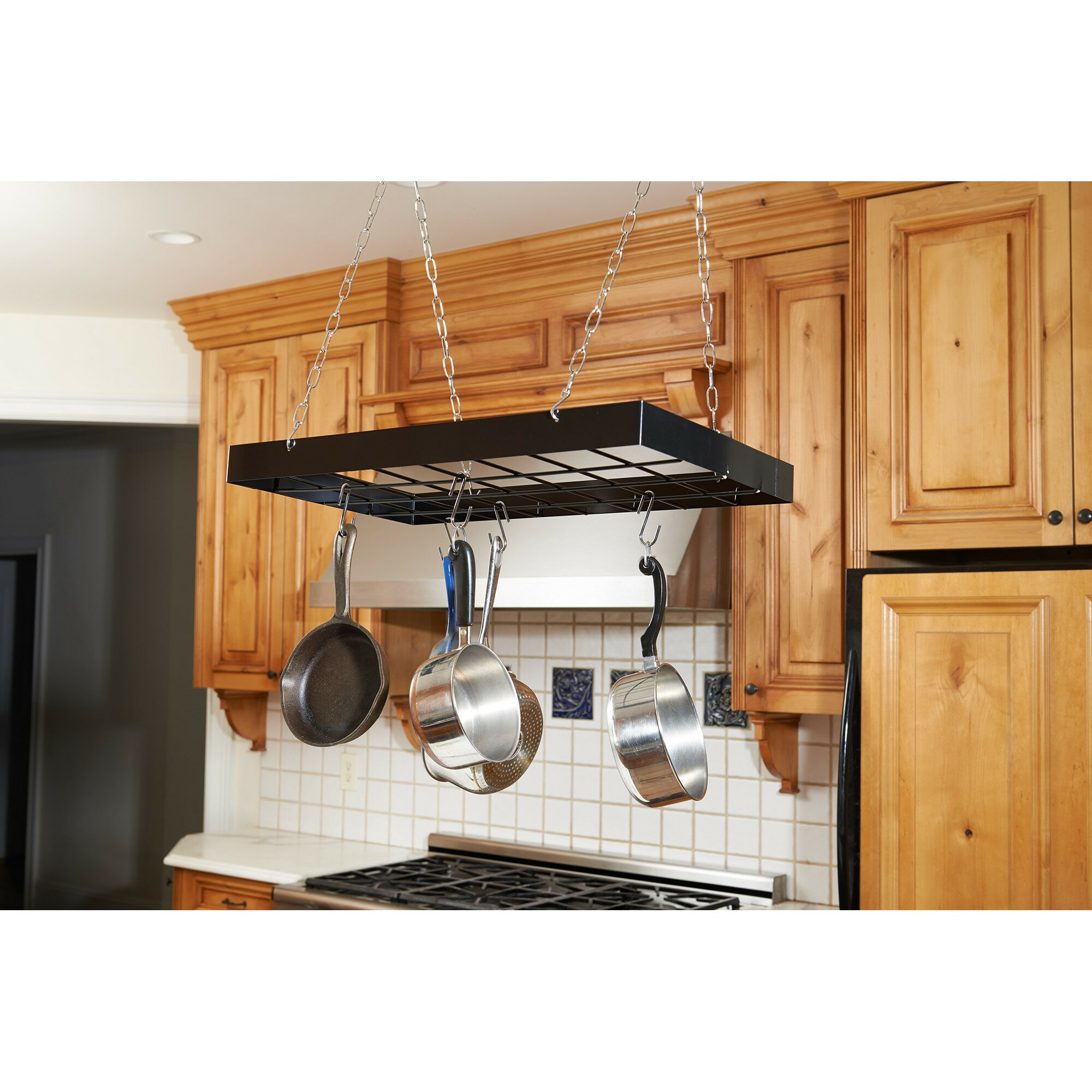Kitchen Ceiling Hanging Rack Rebrilliant Rectangular Hanging Pot Rack Reviews Wayfair