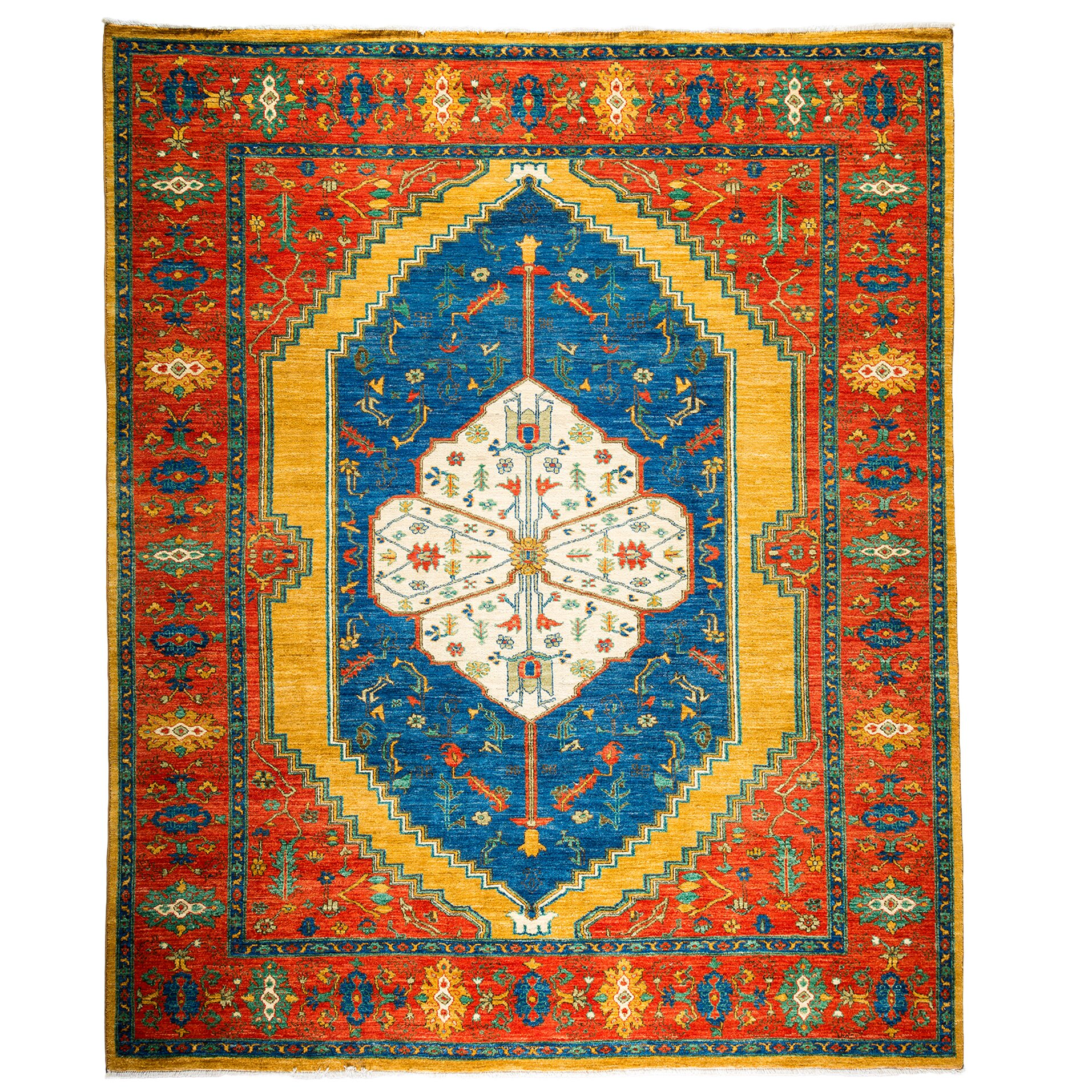 Darya Rugs Ziegler Hand-Knotted Blue/Red Area Rug