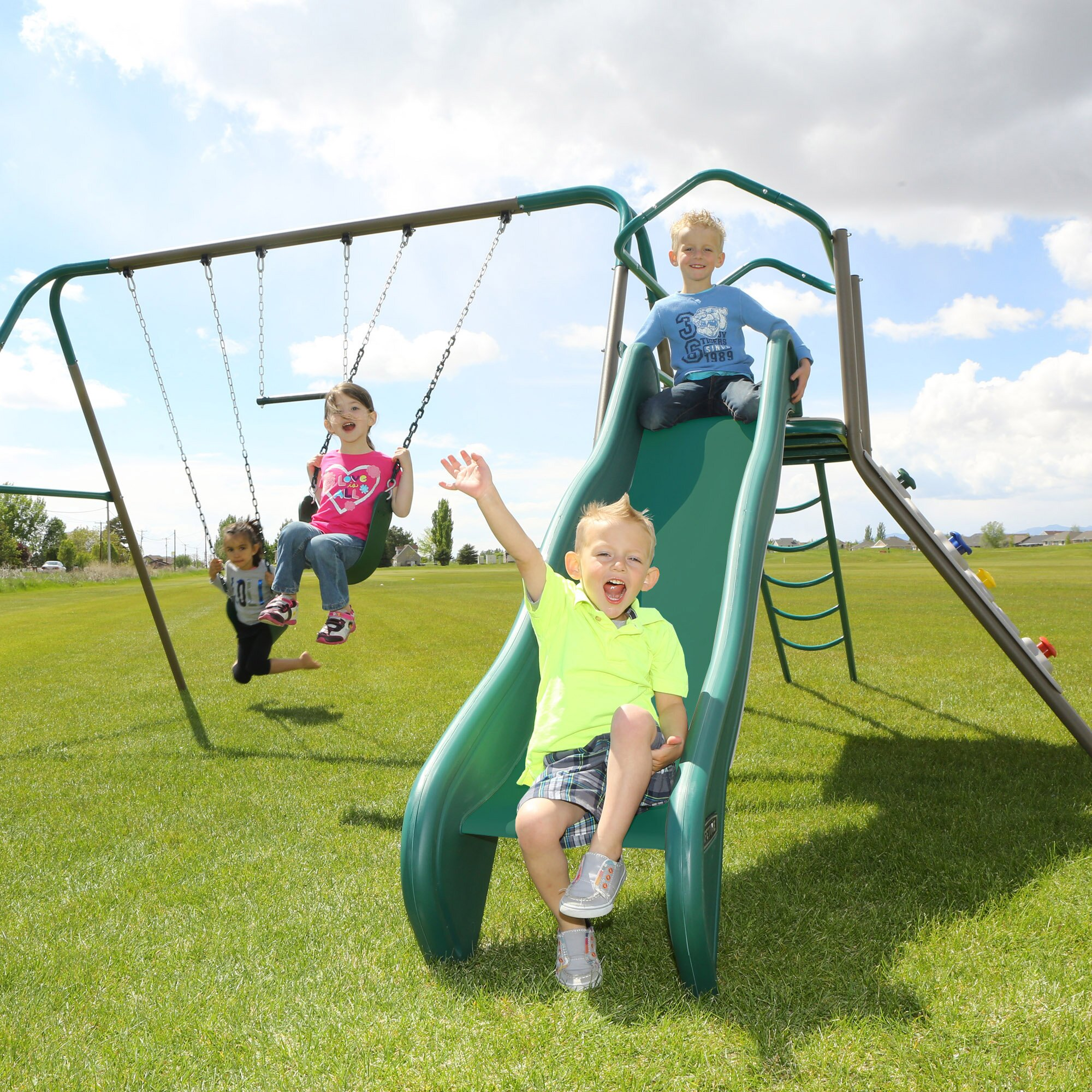 Lifetime Climb And Slide Play Swing Set Amp Reviews Wayfair