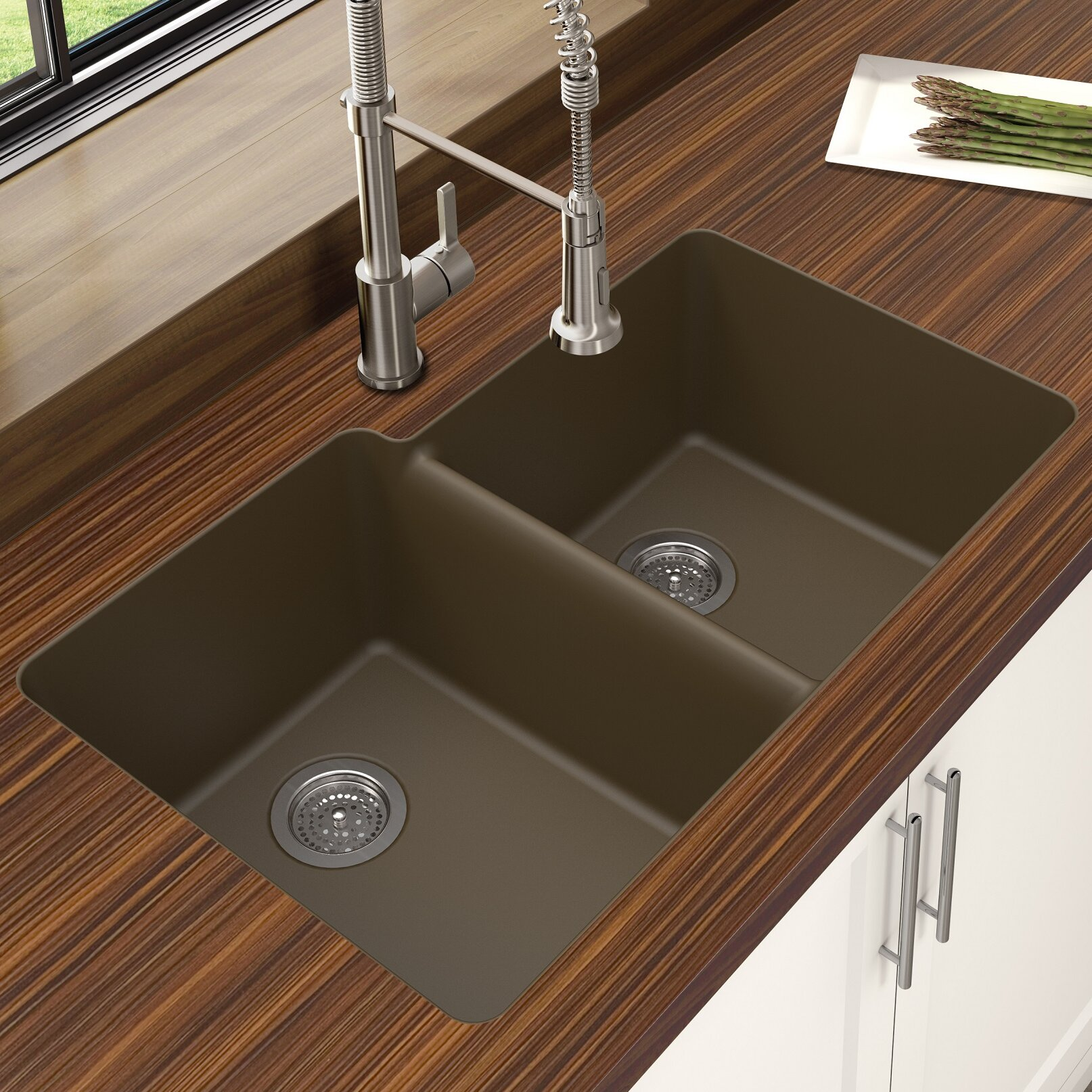 Granite Undermount Kitchen Sinks Winpro Granite Quartz Offset 33 X 22 Double Bowl Undermount