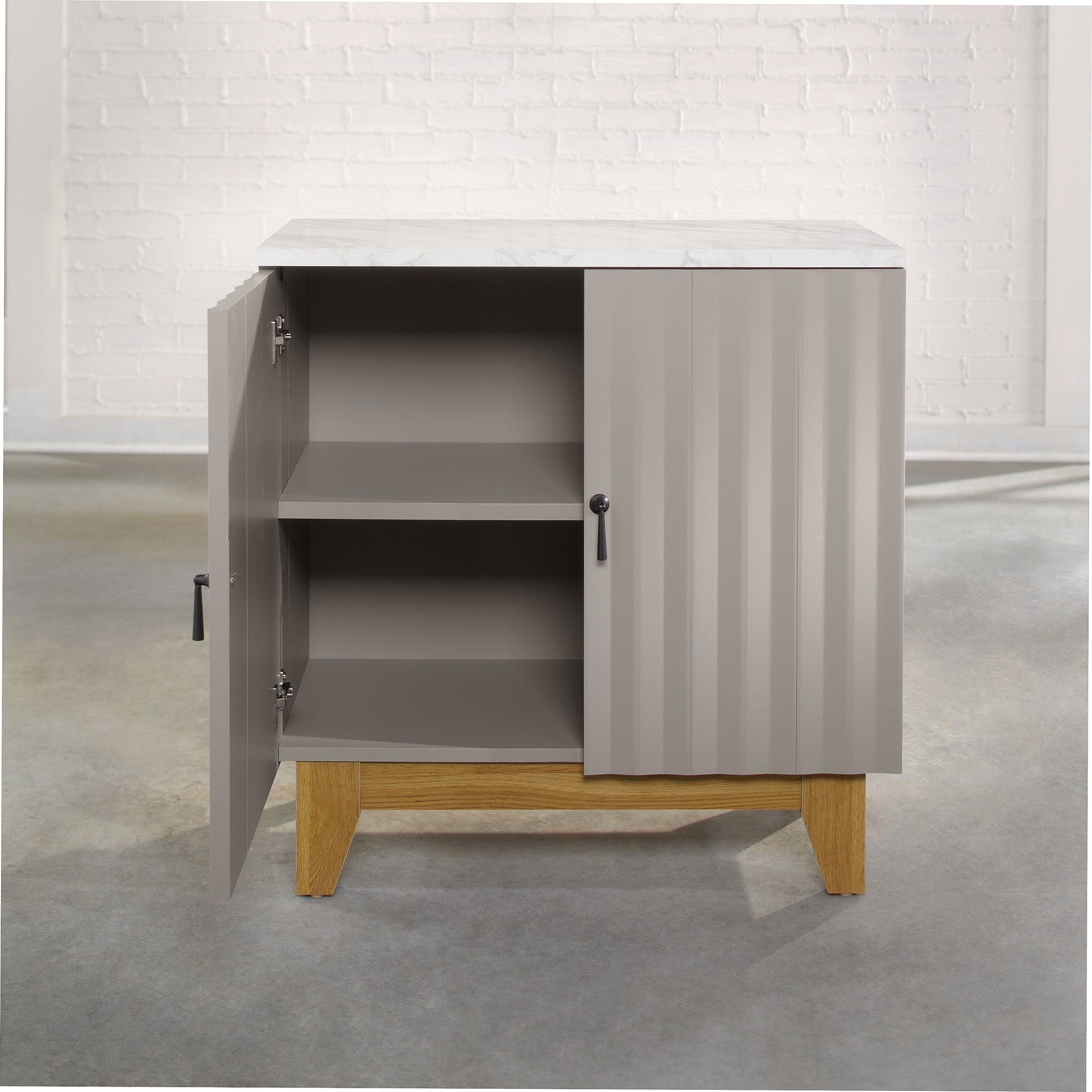 sauder soft modern 2 door storage cabinet