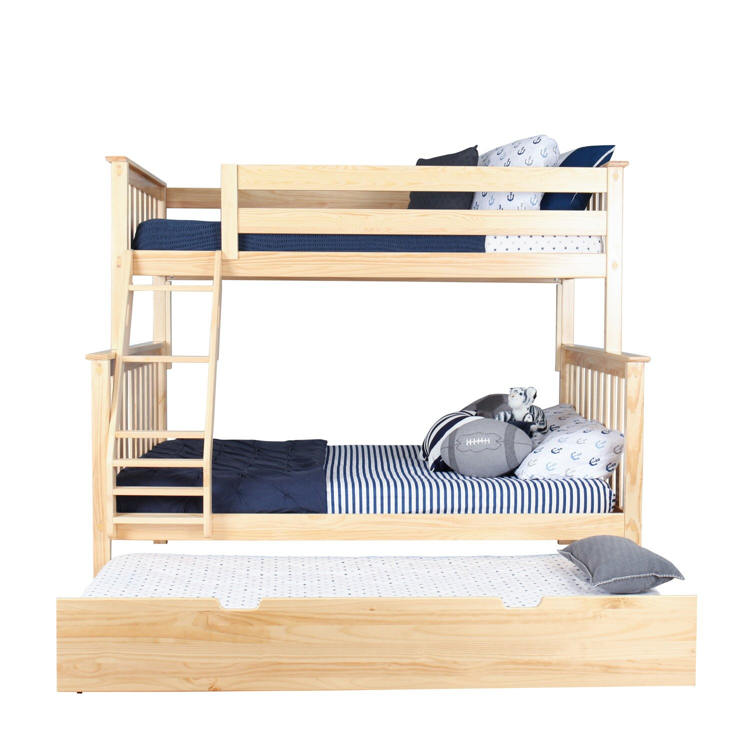 max lily solid wood twin over full bunk bed with trundle. Black Bedroom Furniture Sets. Home Design Ideas