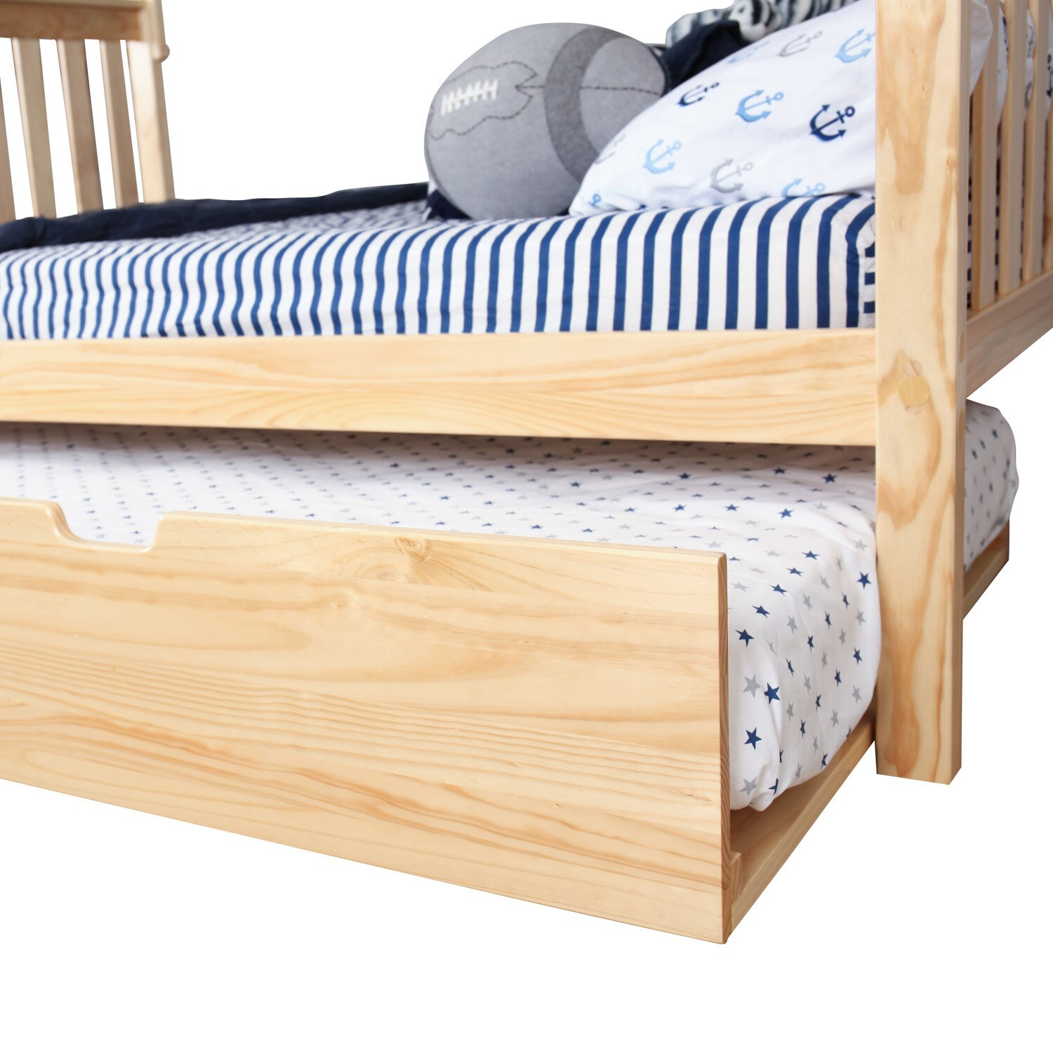 Max & Lily Solid Wood Twin Over Full Bunk Bed with Trundle