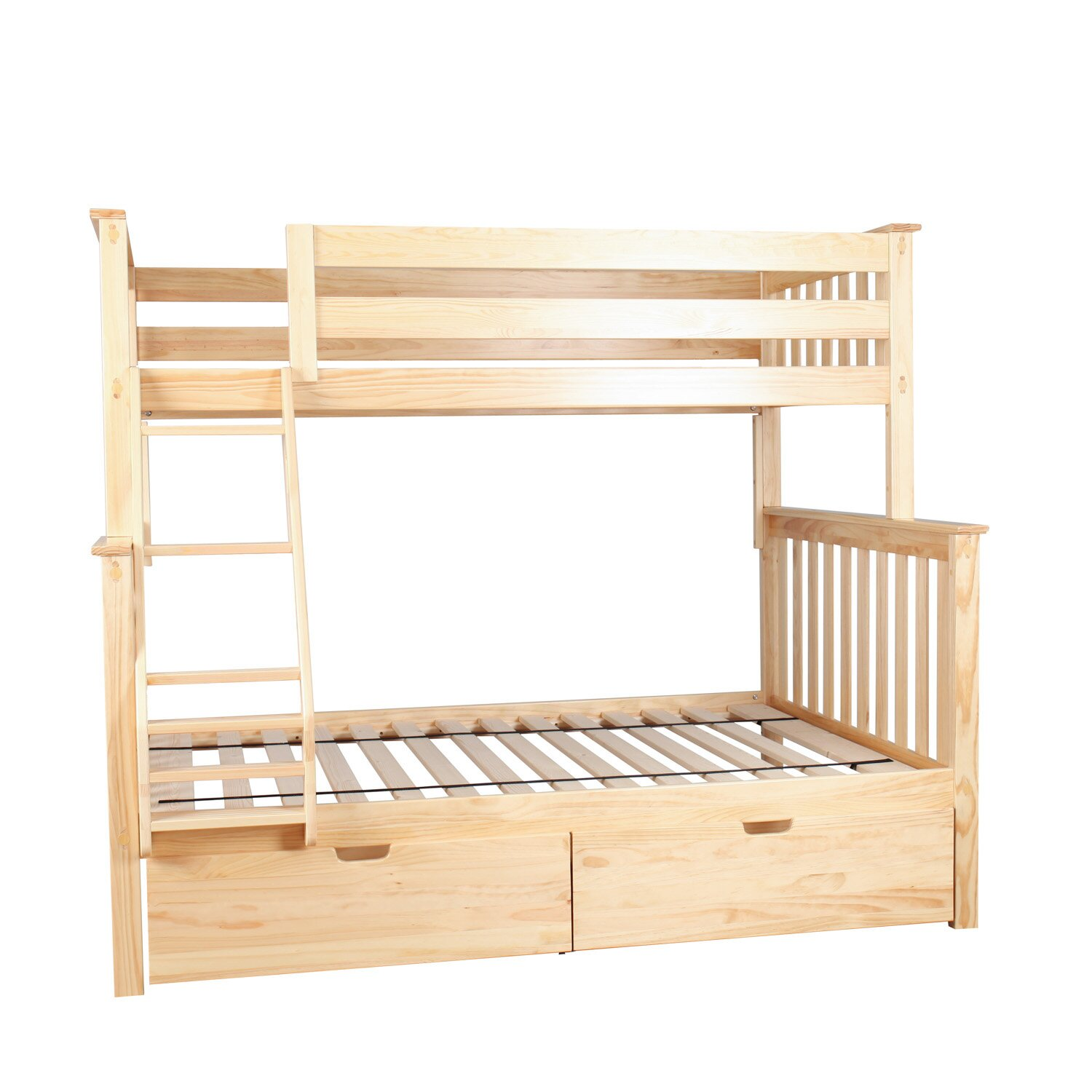 Max lily solid wood twin over fulll bunk bed with under for Wood twin bed with storage