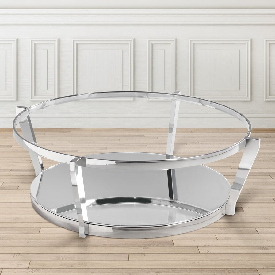 Uptown club birk round glass top steel coffee table for Round glass coffee table top