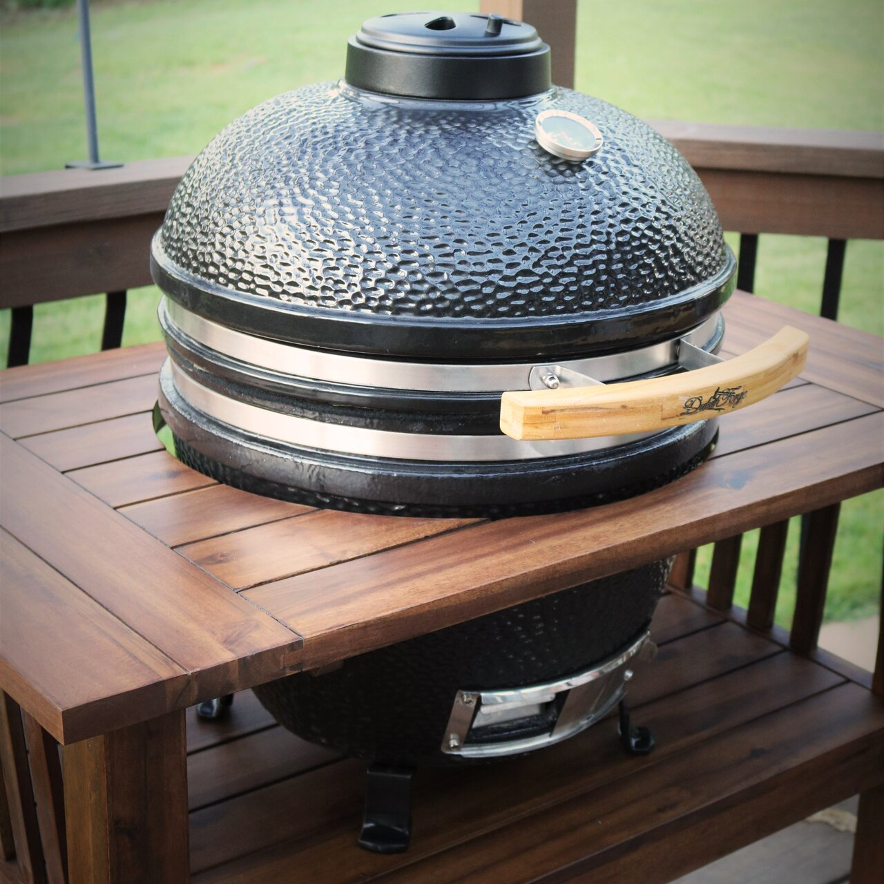 duluth forge 16 5 kamado built in charcoal grill with smoker. Black Bedroom Furniture Sets. Home Design Ideas