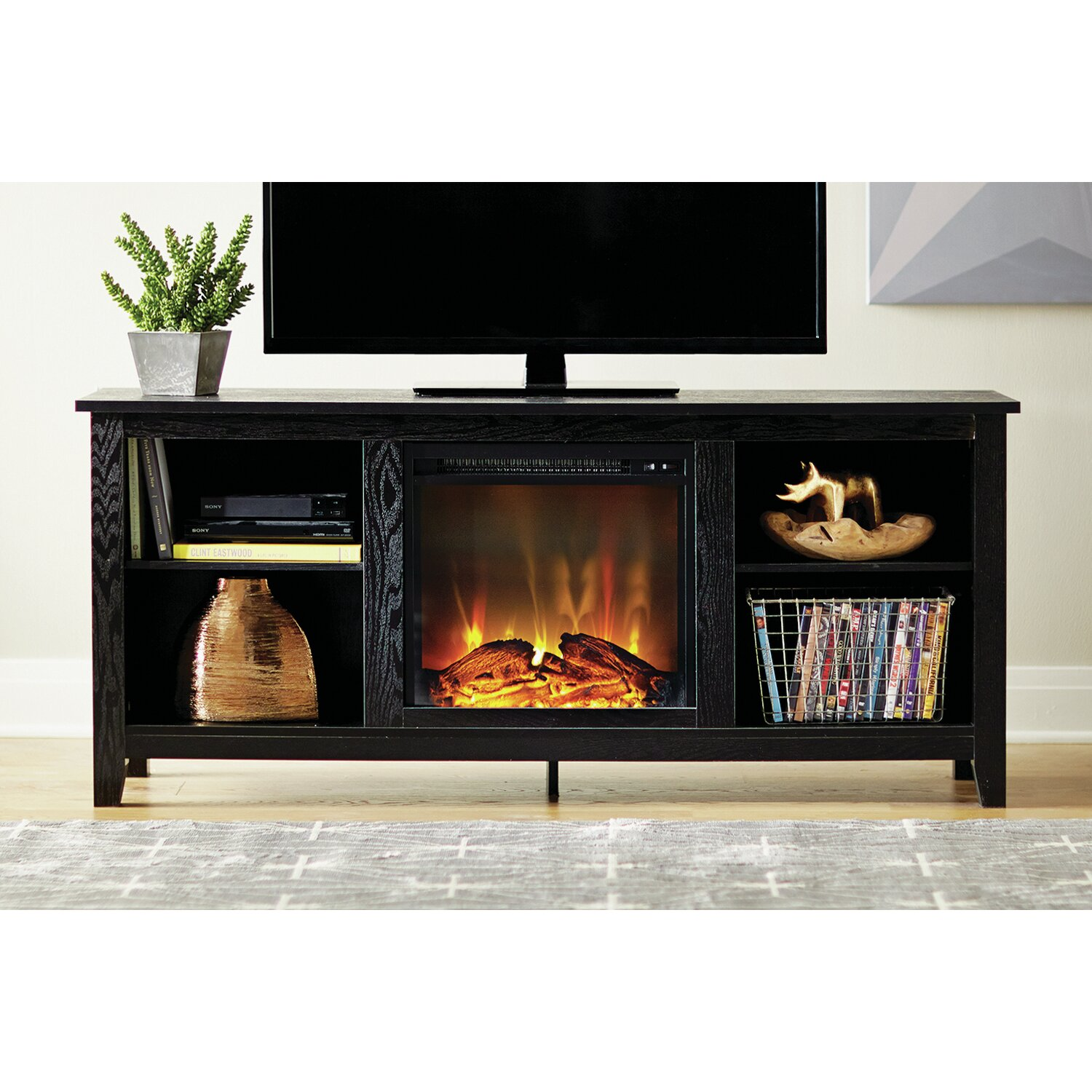 Beachcrest Home™ Griffey Media Console & Electric Fireplace - Griffey Media Console & Electric Fireplace & Reviews Joss & Main