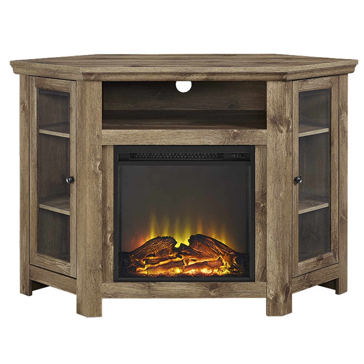 Union Rustic Rena Corner Tv Stand With Electric Fireplace