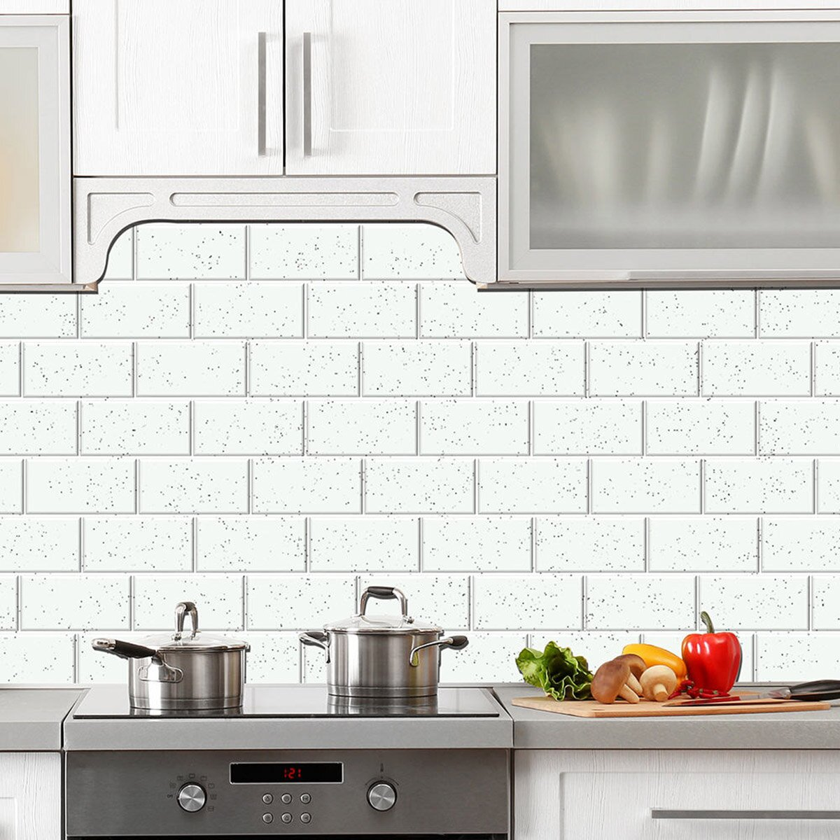 skinnytile 6 x 3 glass peel and stick subway tile in