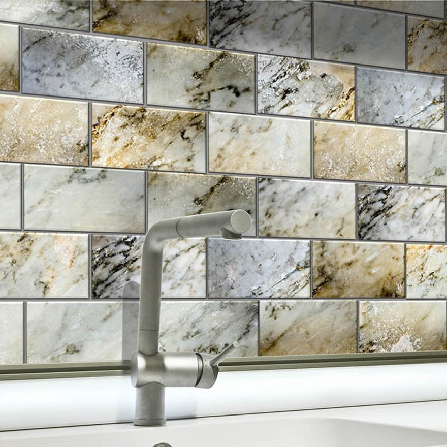 "Peel And Stick Backsplash Tiles: SkinnyTile 6"" X 3"" Glass Peel And Stick Subway Tile"