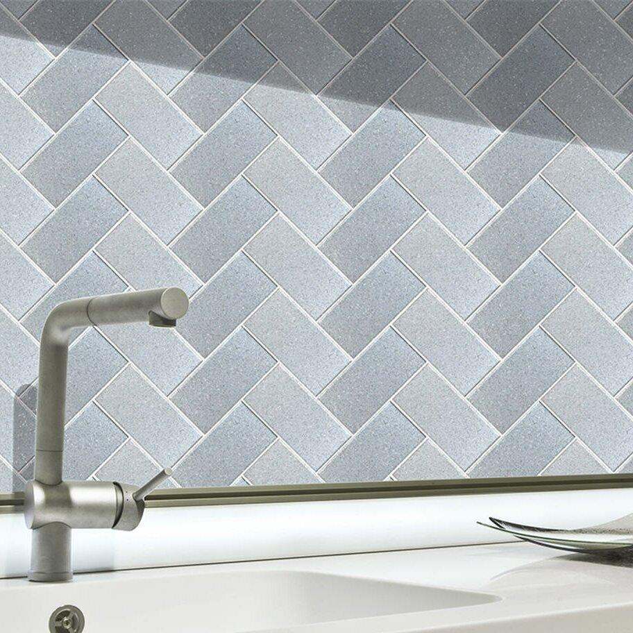 skinnytile 6 x 3 glass peel and stick subway tile in silver. Black Bedroom Furniture Sets. Home Design Ideas